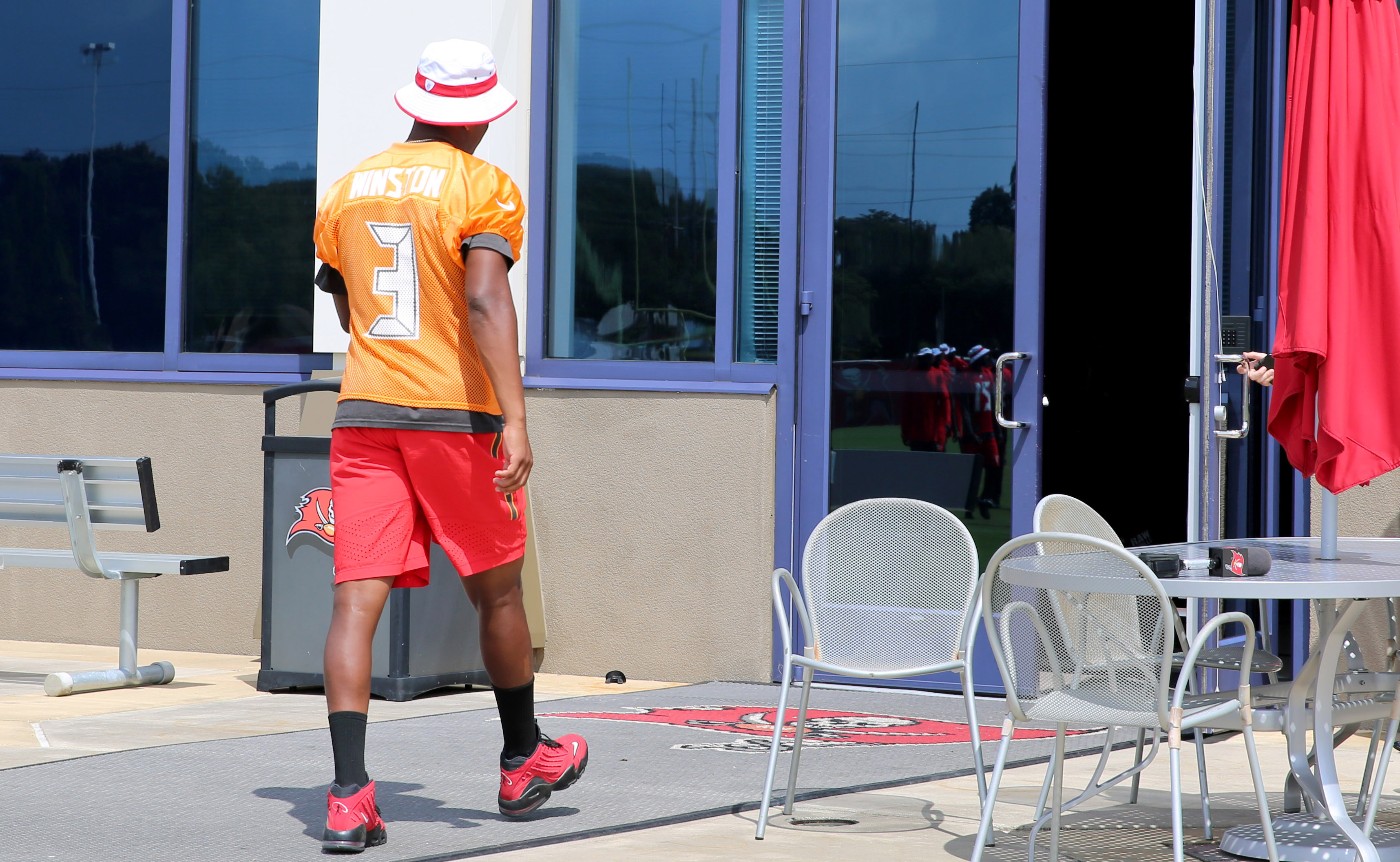 THURSDAY- Winston walks into One Buccaneer Place after the team's walkthrough. Photo: Tampa Bay Buccaneers