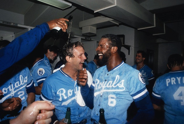 The Royals celebrate their unlikely AL West crown in 1984