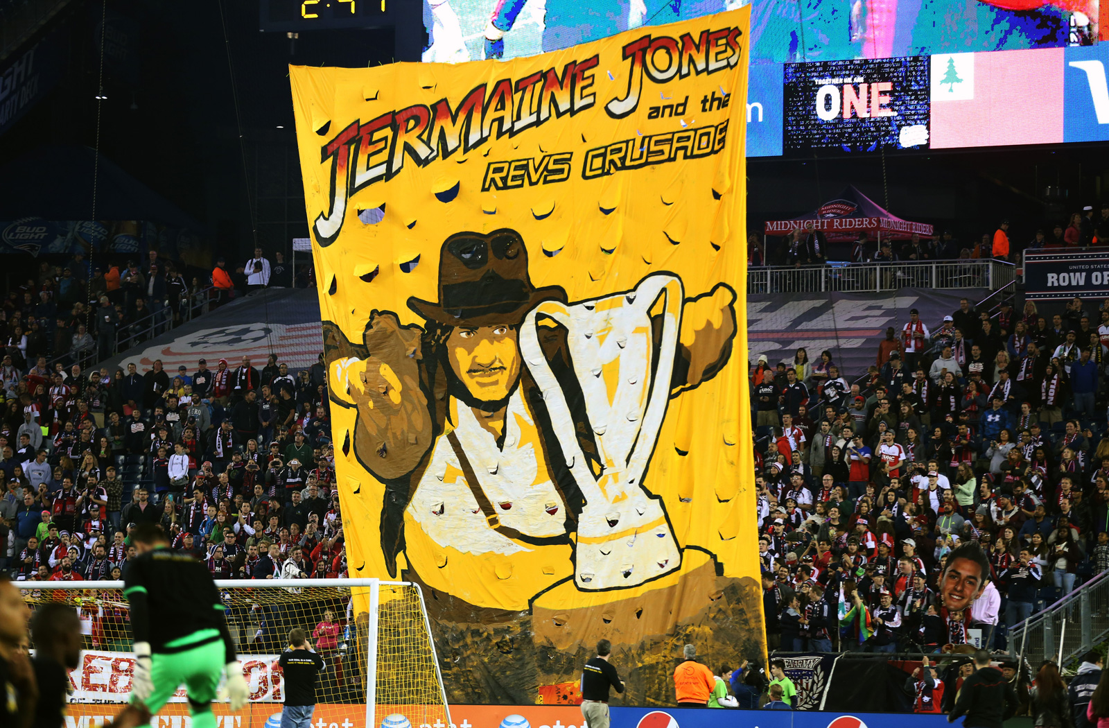 New England Revolution fans equate Jermaine Jones to Indiana Jones on their quest to capture the 2015 MLS Cup on September 26, 2015.