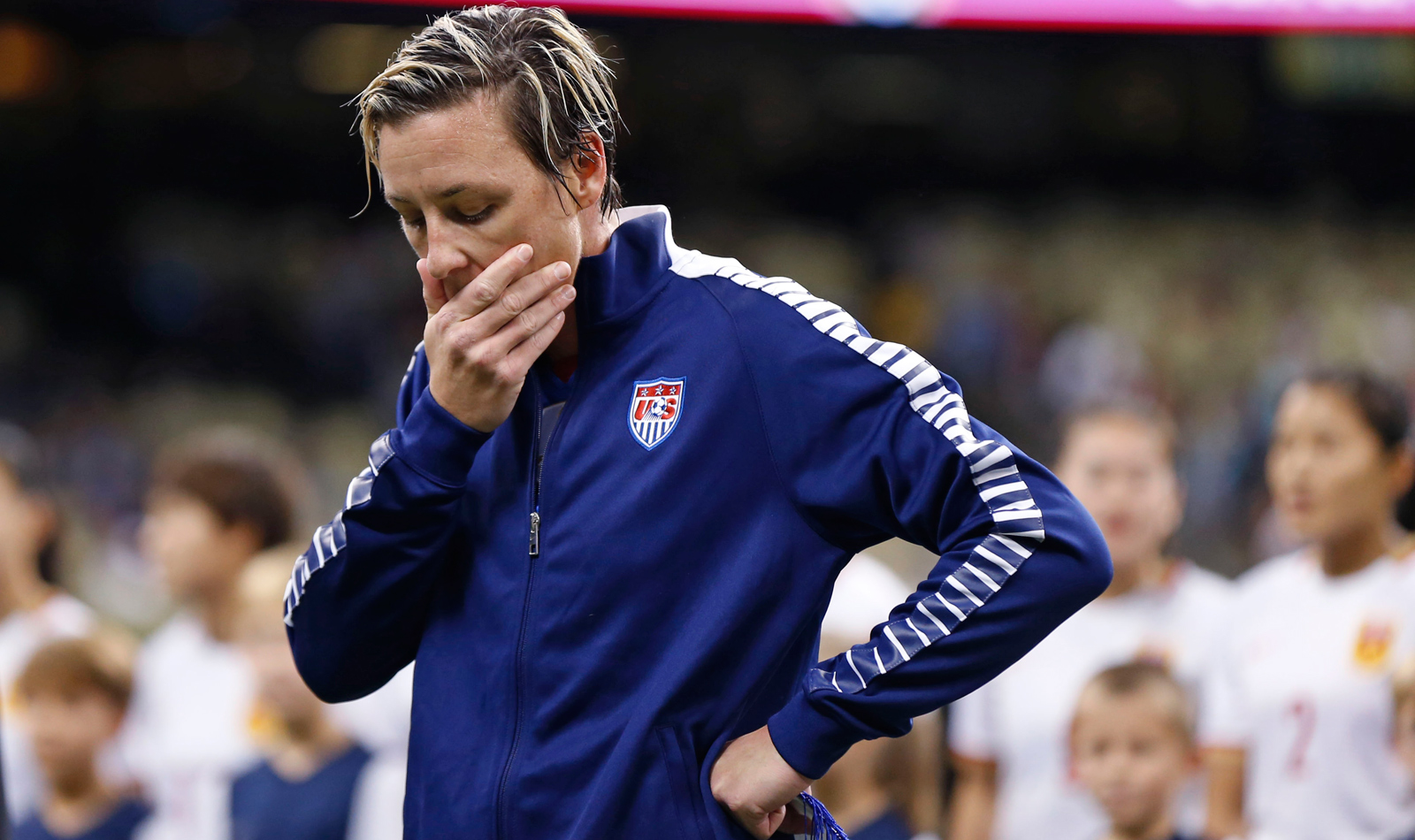Abby Wambach is introduced in the U.S. lineup for the last time at the Superdome in New Orleans, playing in her final match before retiring. She ends her U.S. career with 255 appeara