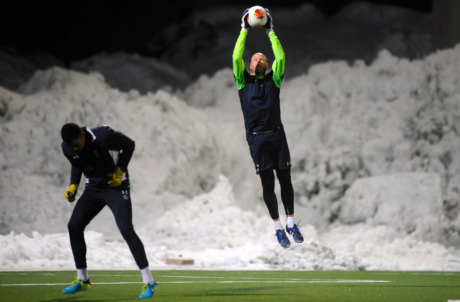 Former USA and Tottenham goalkeeper Brad Friedel warms up before a Europa League game in Norway in November 2013.