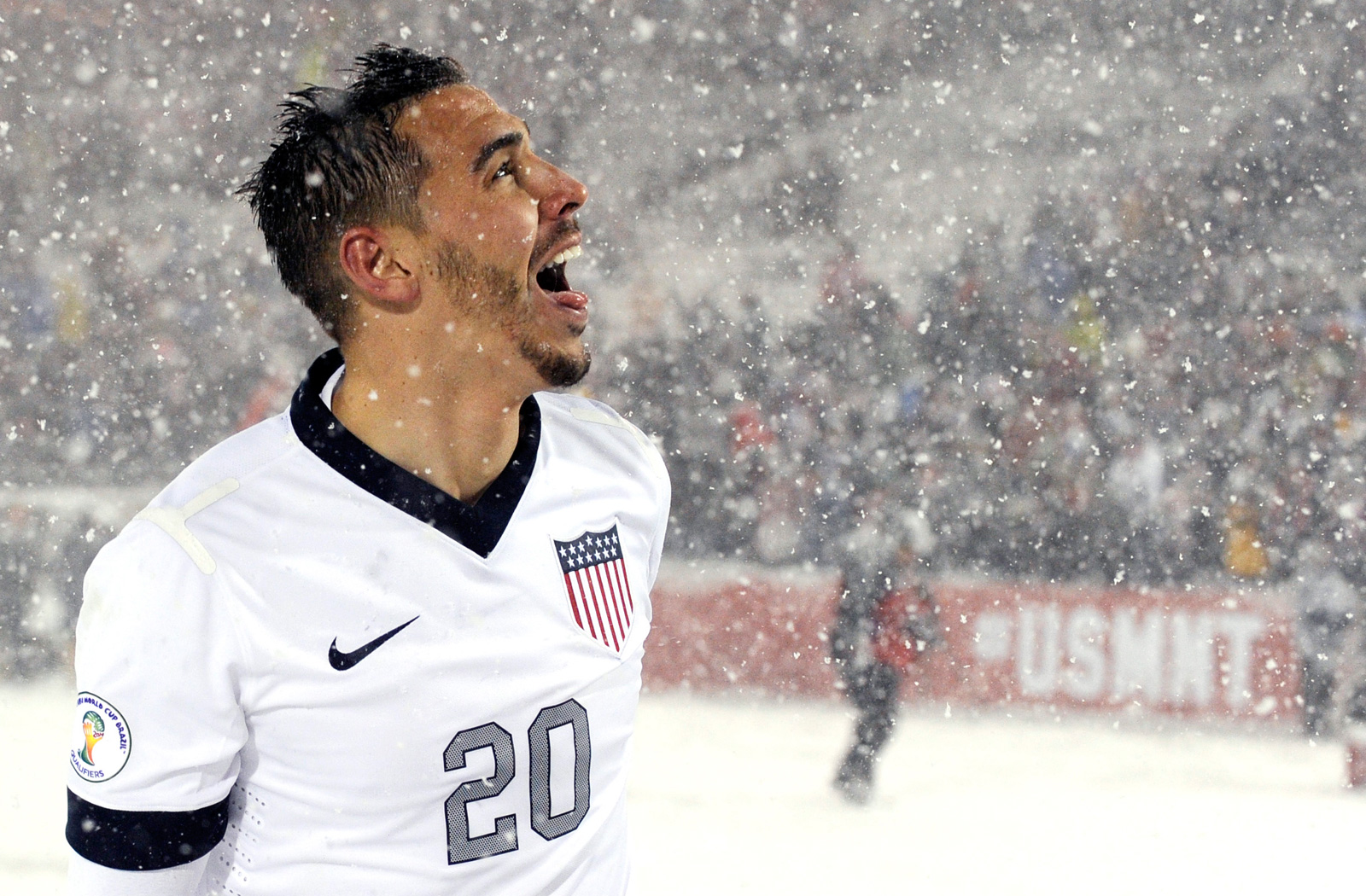 USA's Geoff Cameron in the SnowClasico World Cup qualifier vs. Costa Rica in March 2013 at Colorado's Dick's Sporting Goods Park.