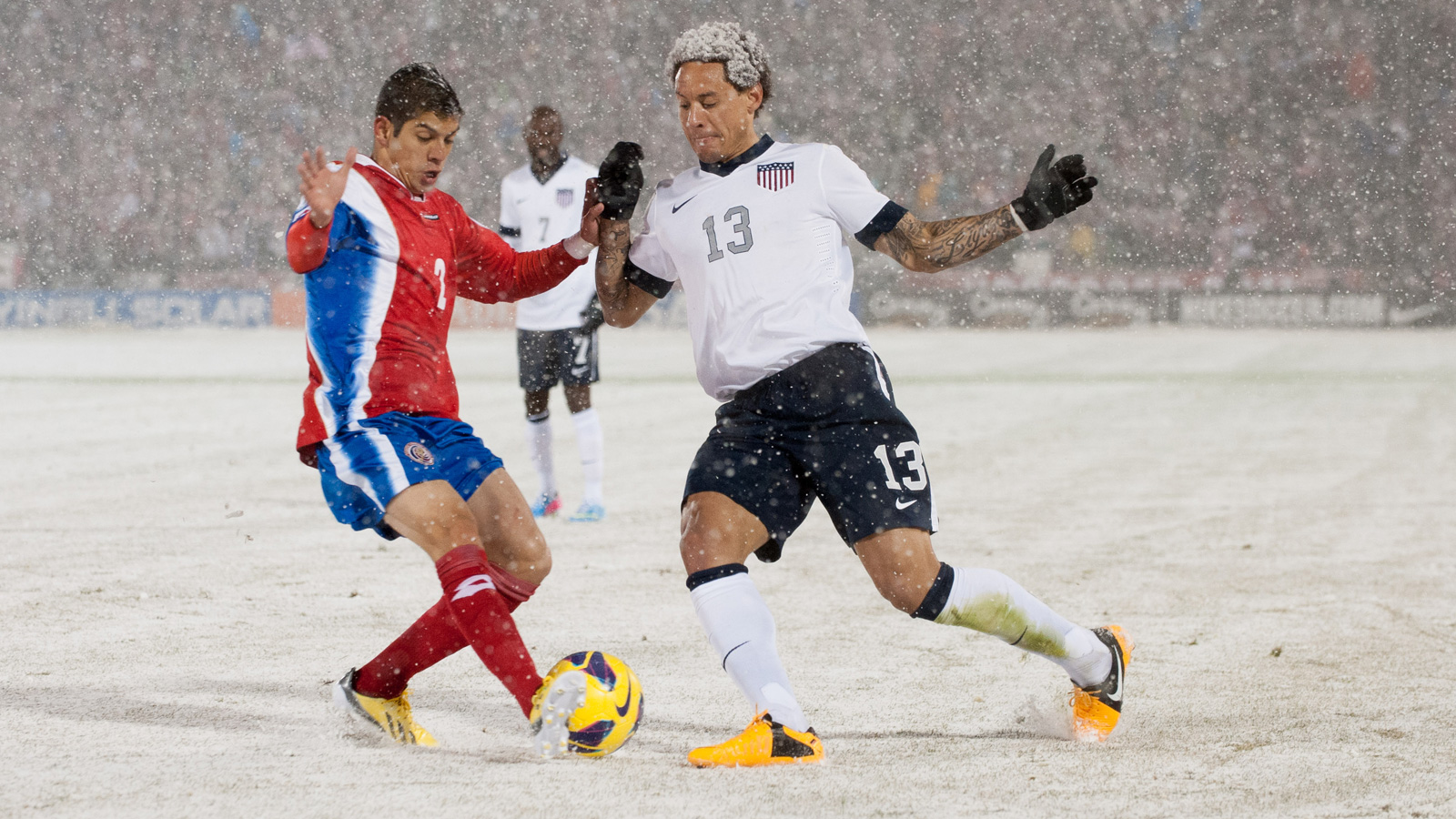 "Jermaine Jones dons his ""snow-fro"" in the USA's World Cup qualifier against Costa Rica in March 2013 at Colorado's Dick's Sporting Goods Park."