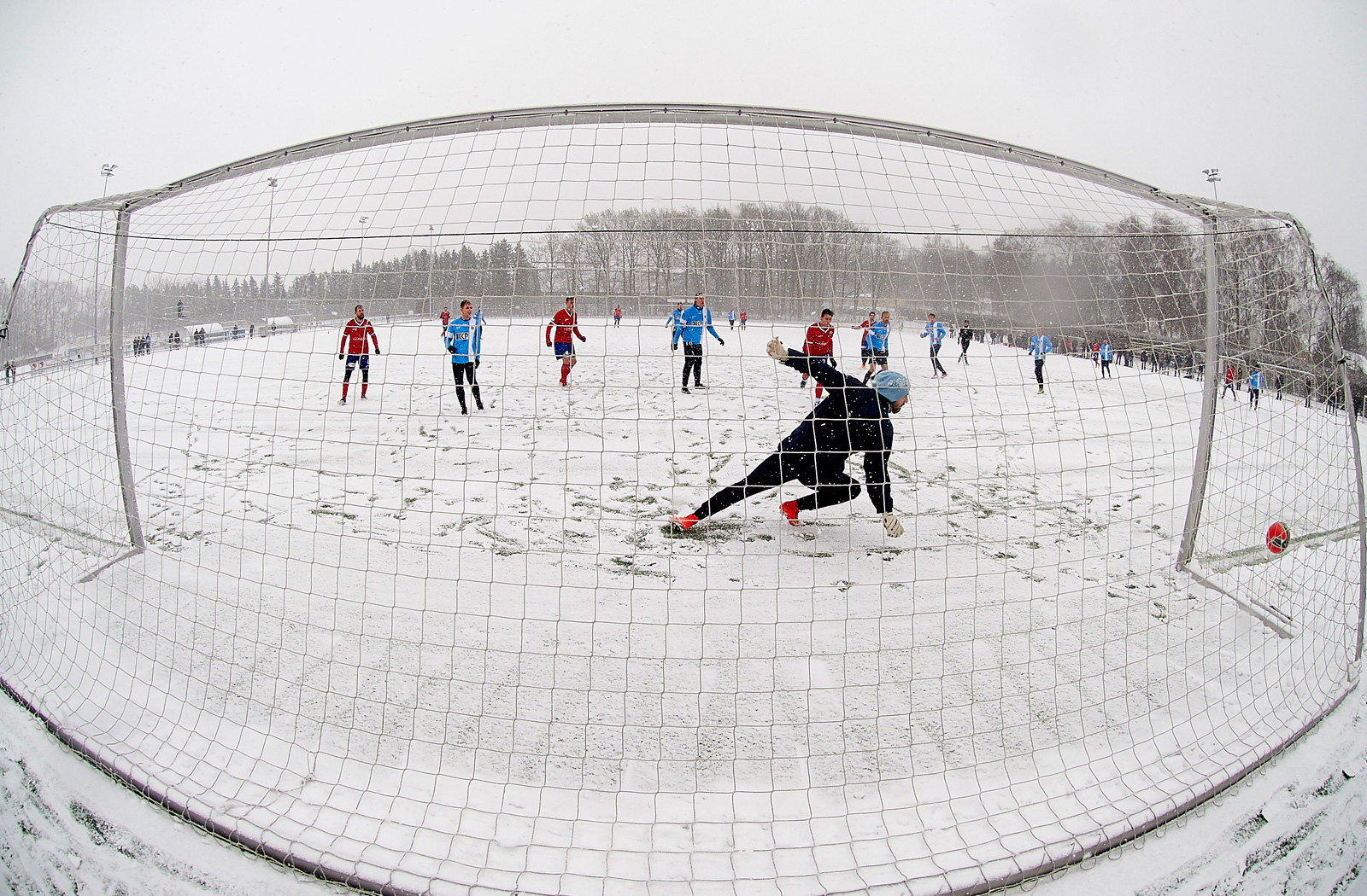 Preseason action in the snow between FC Vestsjalland and FC Roskilde at Slagelse Stadion on January 24, 2015 in Slagelse, Denmark.