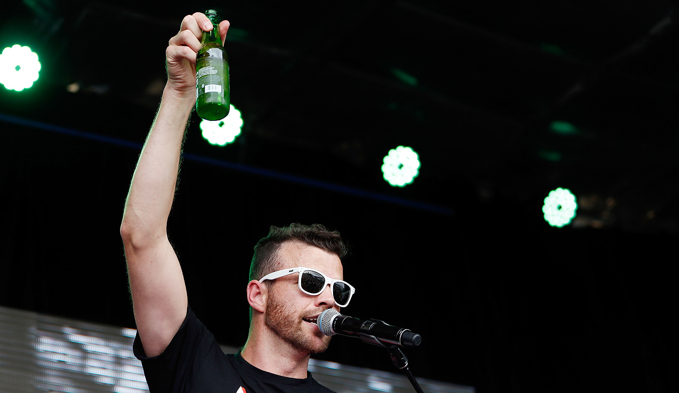 Hot Dub Time Machine performs on the Heineken Live Stage at the Australian Open.