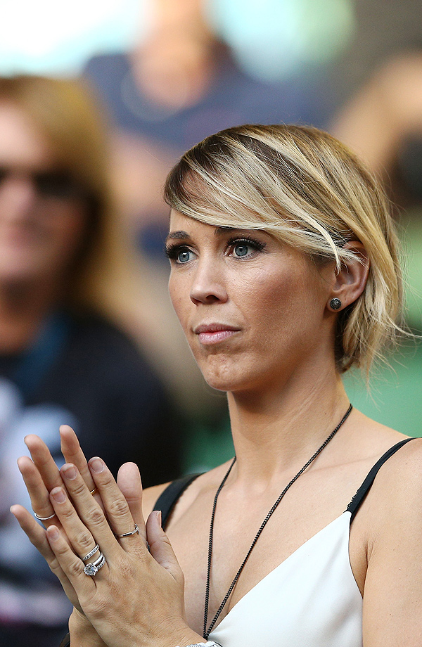 Bec Hewitt, the wife of Lleyton Hewitt, looks on before his second-round match against David Ferrer.