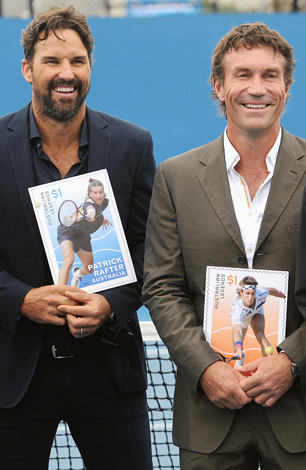 Australian tennis legends Patrick Rafter and Pat Cash after being honored on a postage stamp as recipients of the 2016 Australia Post Legends Award.