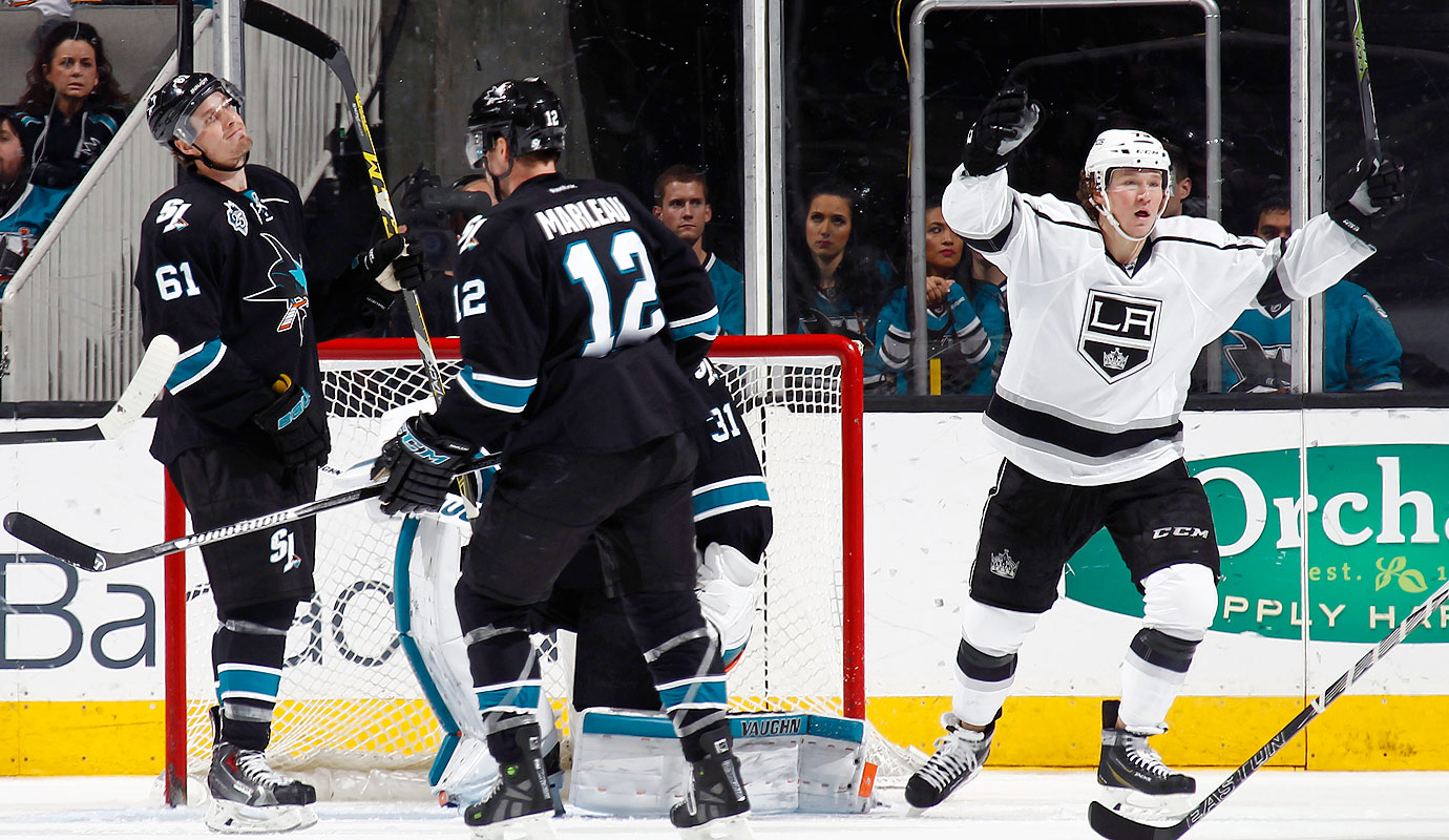 Patrick Marleau, Justin Braun, and Martin Jones of the San Jose Sharks accept a lost goal against Tyler Toffoli of the Los Angeles Kings at the SAP Center in San Jose, Calif.