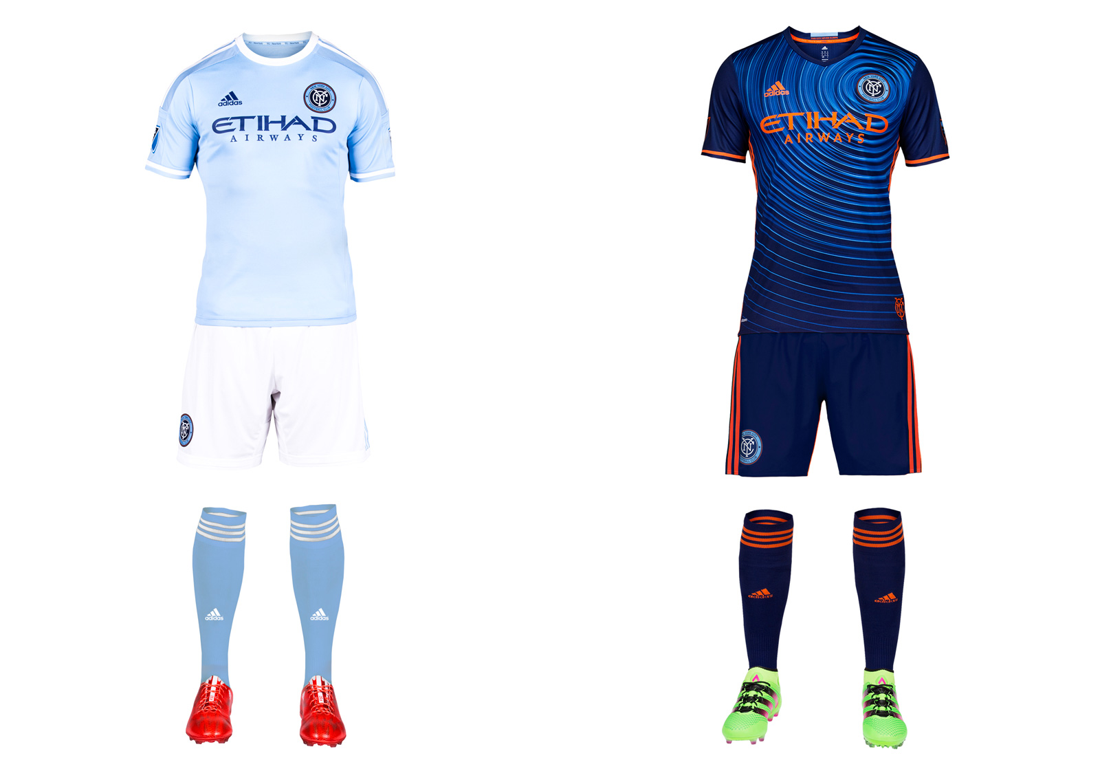 "MLS didn't need another all-black uniform, and NYCFC did the right thing by ditching last year's away set in favor of something more aligned with the club's colors and branding. What they came up with, however, will take some getting used to. The dizzying new secondary kit is anchored by a blue jersey with a ""ripple pattern inspired by the energy of the five boroughs."" It's unique, for sure, and while some won't like it, secondaries don't necessarily need to be timeless. Adidas also supplied orange shorts as an option, in case the mono-blue isn't loud enough. NYCFC's classy home uniform, which looks good even though Manchester City wore it first, carries over from its inaugural season."