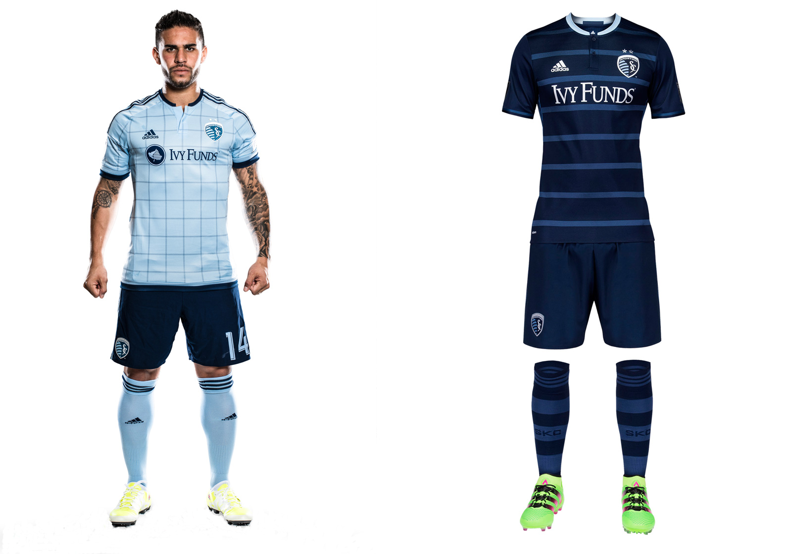 "Uniforms typically run on two-year cycles, meaning Sporting had no choice but to move on from its spectacular hooped 2014-15 away set. The replacement is nice enough and the jersey looks good on its own, but the full kit is a bit bland in comparison. The thin hoops are ""tonal"" rather than ""Sporting"" blue. The metallic silver numbers and sponsor logo add a bit of glitz. The checkered home uniform debuted last year and still looks good with the dark blue shorts. SKC also will continue wearing its all-white third kit on occasion."