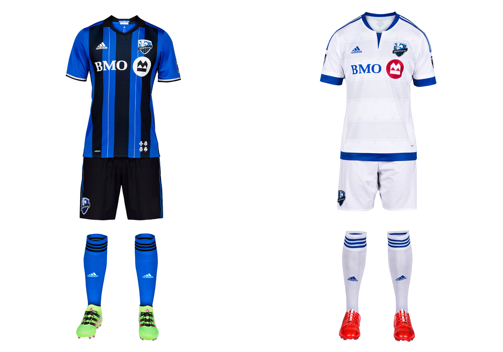 Finally! We never could understand why the Impact (launched in 1993) didn't opt for their old school blue and black stripes when moving to MLS in 2012. There was history with the plain blue primary as well, but in the end it was just another anonymous monochromatic uniform in a league full of them. The stripes returned as a popular third option in 2013 and now have been elevated to their proper place as Montreal's home kit. Black shorts, blue socks and silver highlights round out one of MLS's most distinctive looks. Maybe the Impact can wear those shorts and socks on the road as well.