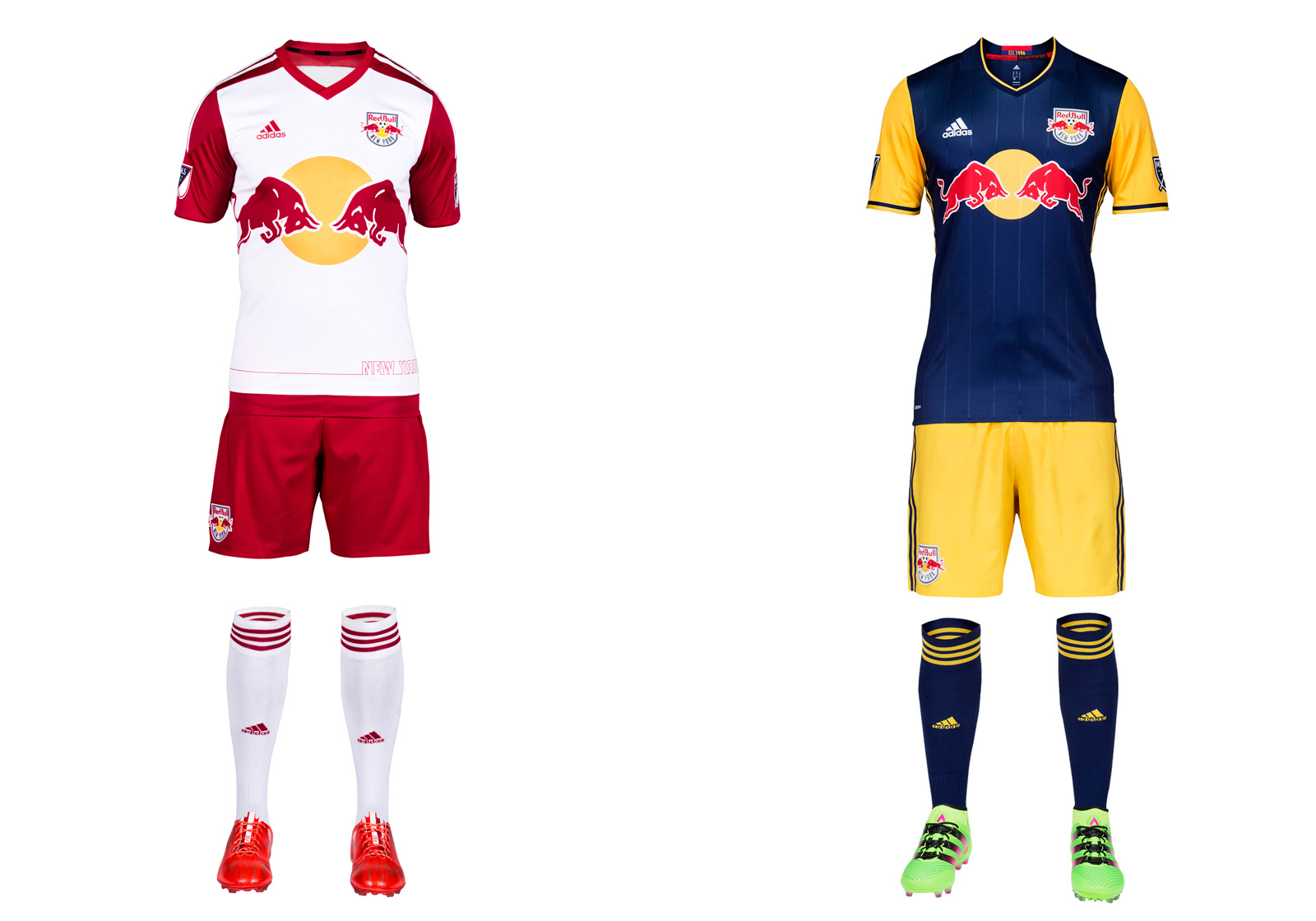 New York is red, except when it's navy blue and yellow. Despite some supporters' preference for a red away uniform, the Red Bulls are sticking with the colors they share with the parent company's teams in Leipzig and Salzburg. The new secondary, which now features yellow sleeves, certainly is eye-catching even if it doesn't stir fans' souls. NYRB's brand transcends the crest and kit, anyway. The stadium, history and the personalities who've donned MetroStar red-and-black and Red Bull red-and-white are what give this club its identity. NYRB sort of acknowledges that with the red-and-black necktape and MetroStars shield inside the new away jersey. The red-sleeved home kit is identical to last year's.