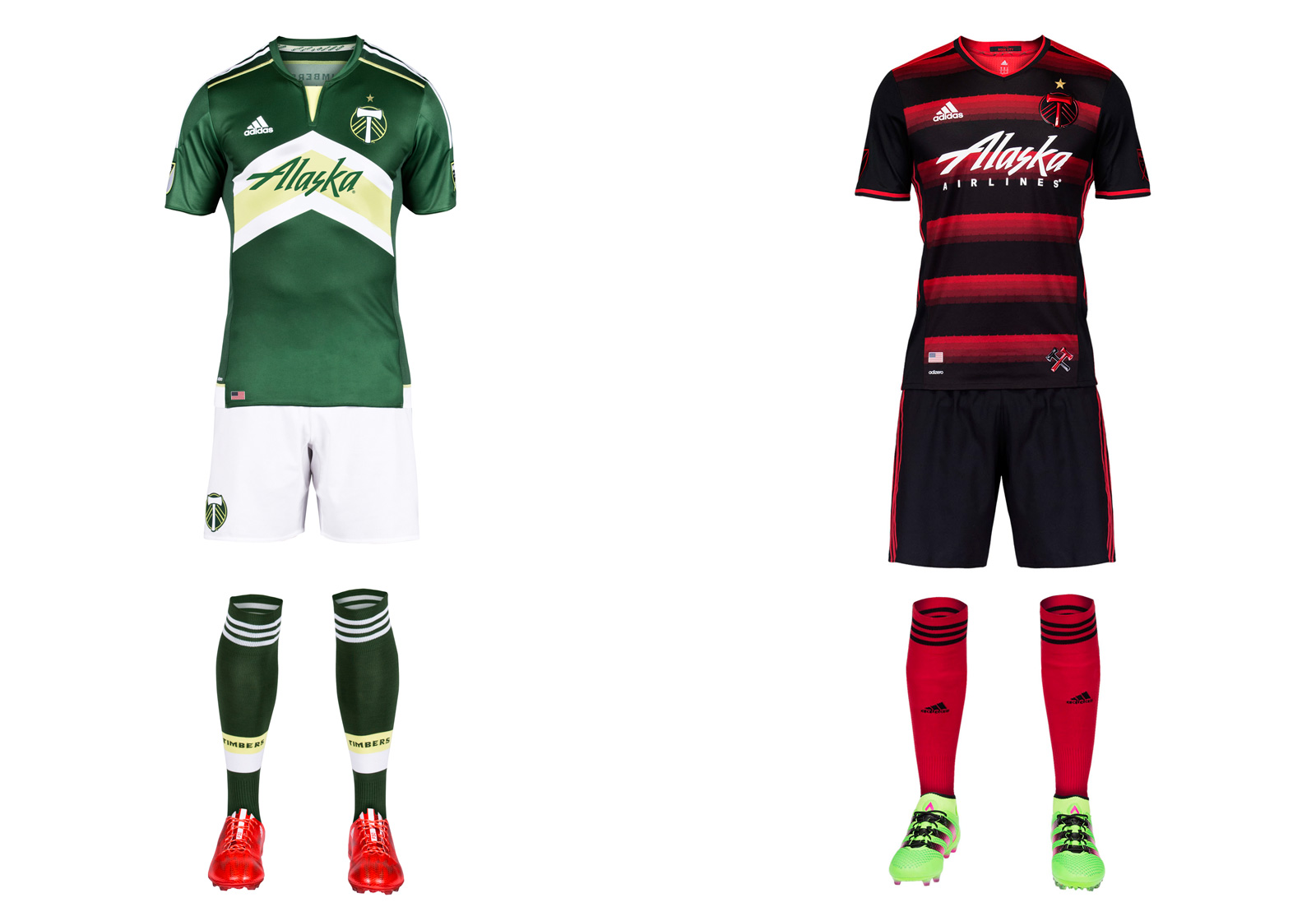 "Portland's ""Rose City Red"" away uniforms continue to darken, but the overall theme is maintained with the champions' striking new secondary set. The mostly-black jersey (there's more red on the back) features hoops in shades of red complete with a subtle thorn motif. Red socks add a bit of contrast that would be lost if they were black. The green-and-white home kit is the same as last year's except for a revised sponsor logo. For Timbers fans, of course, the best part is the new gold star above the crest."