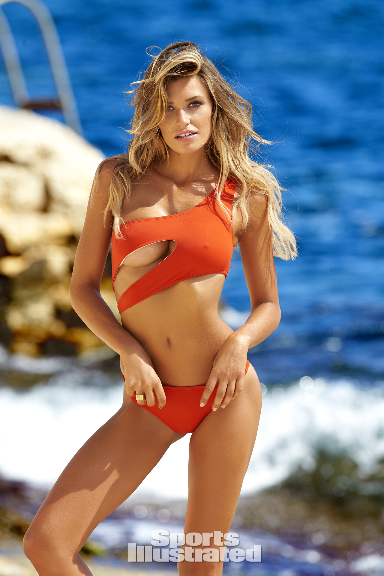 Samantha Hoopes was photographed by Ben Watts in Malta. Swimsuit by OYE Swimwear.