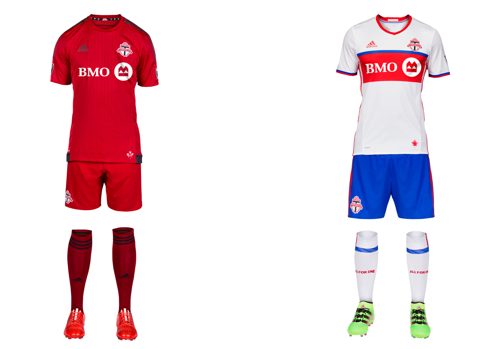 Entering its 10th season, TFC will include blue in its uniform for the first time. The club's new away uniform is a colorful nod to the city and its soccer past. Toronto's flag and its NHL, MLB and CFL teams are primarily blue, and the NASL's Metros-Croatia and Blizzard wore red and blue in the 1970s and '80s. The kit stands out without being garish and means something to the club. Well done, TFC. It also can be worn with red shorts. Gone is the classy dark gray, which we wish was more prominent in the all-red primary.