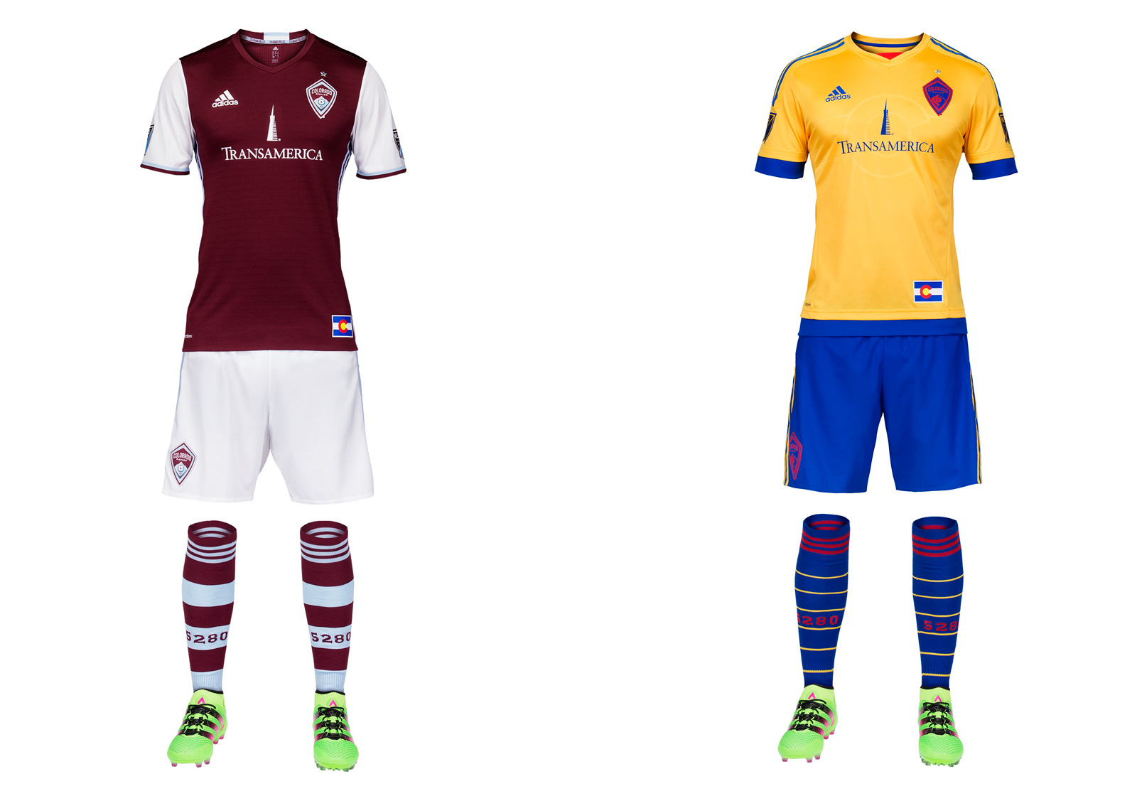Colorado made just a few very subtle changes to its home uniform this year, and that's fine. The three stripes moved from the shoulder to the side, there's a bit of color on the cuffs and the hoops on the sock widened, which is awesome. The burgundy and white is elegant and immediately recognizable. The club's problem remains the logo, a skinny shield featuring a mountain (not rapids) similar to its NHL, NBA and MLB neighbors. It's tough to suggest a fourth crest for a team that's had trouble establishing an identity, but it might help. This one leaves no impact. Colorado's sharp state flag-inspired away set carries over from 2015.