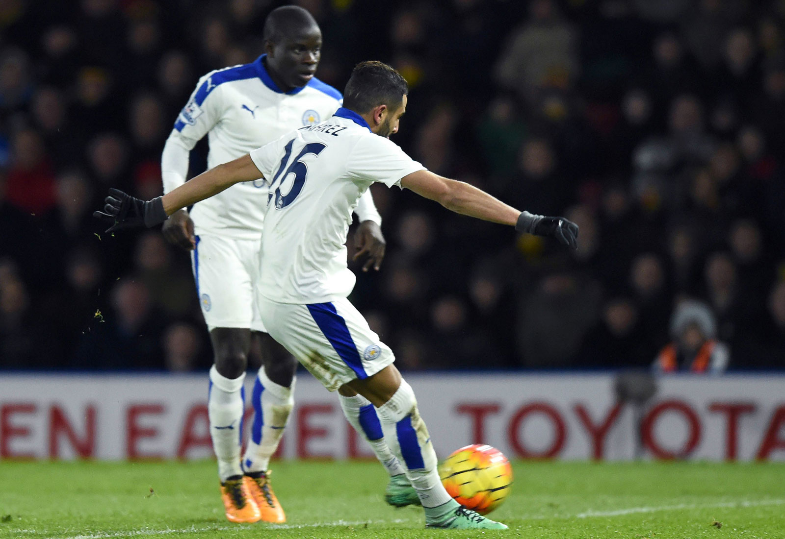 Vital midfielder N'Golo Kante returned from an injury and Riyad Mahrez scored a highlight-reel goal–again–as Leicester won at Watford 1-0 to keep pressure on Tottenham and Arsenal in the title chase. The club's record away from home (11-2-4) is a big driver of its overall success.
