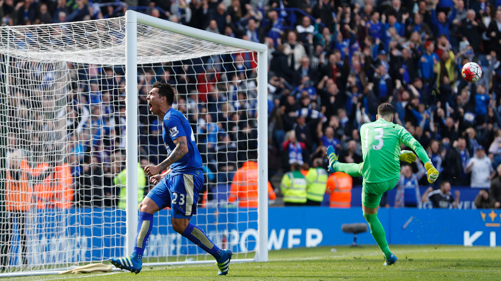 Leonardo Ulloa calmly converted a penalty kick deep into second-half stoppage time to cap a game full of controversy and secure a vital point in a 2-2 draw with West Ham.