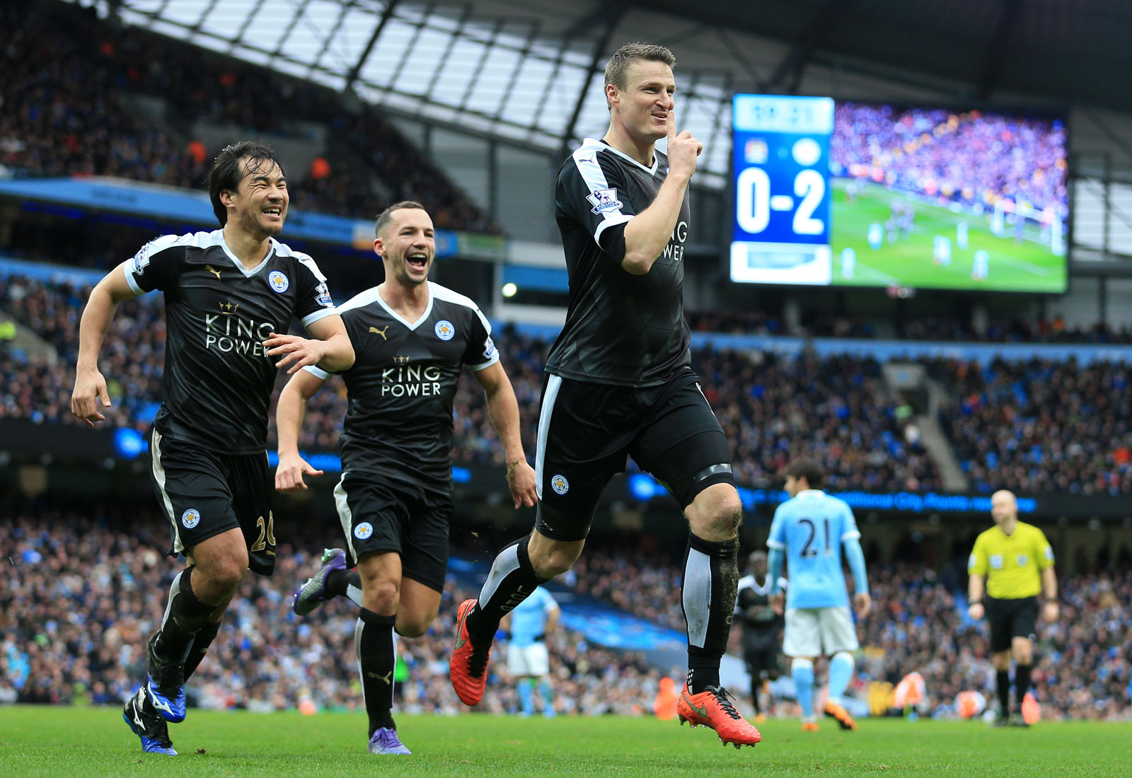 A match at Manchester City was supposed to be the start of Leicester's downfall, but the Foxes were having none of that. Robert Huth scored in the third minute to shock the Etihad faithful, and he added another later to proclaim Leicester's intentions in a 3-1 win.