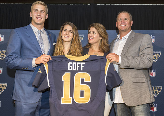 Men's Los Angeles Rams Jared Goff #16 White Stitched Elite NFL Jersey