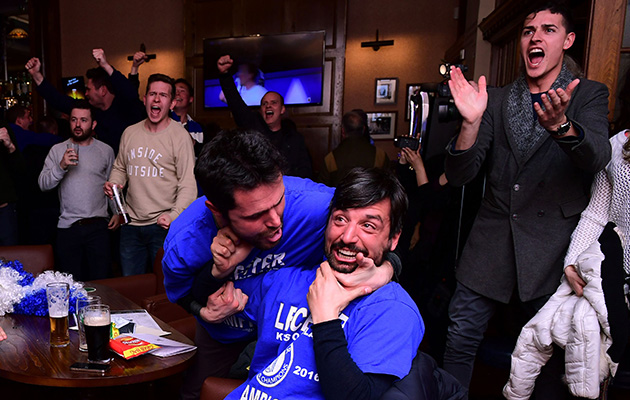 Fans celebrated in Leicester after Chelsea scored to cut Tottenham's lead to one goal.