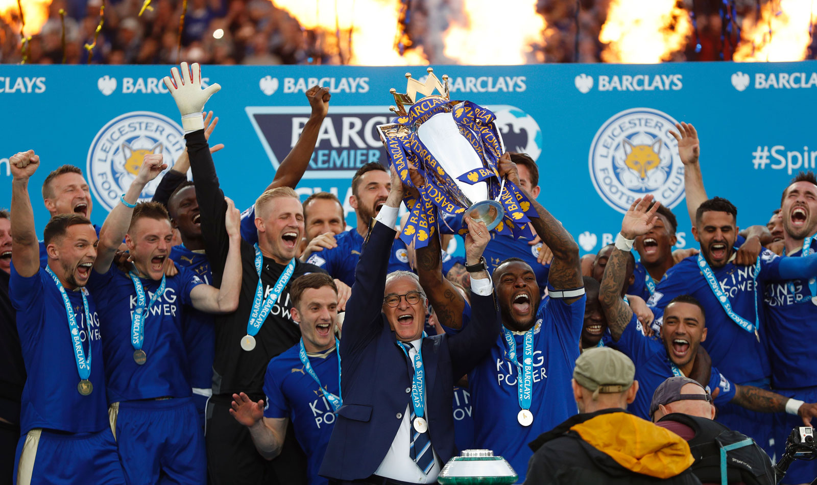 Leicester City lifts the trophy: The 2015-16 Premier League champions.