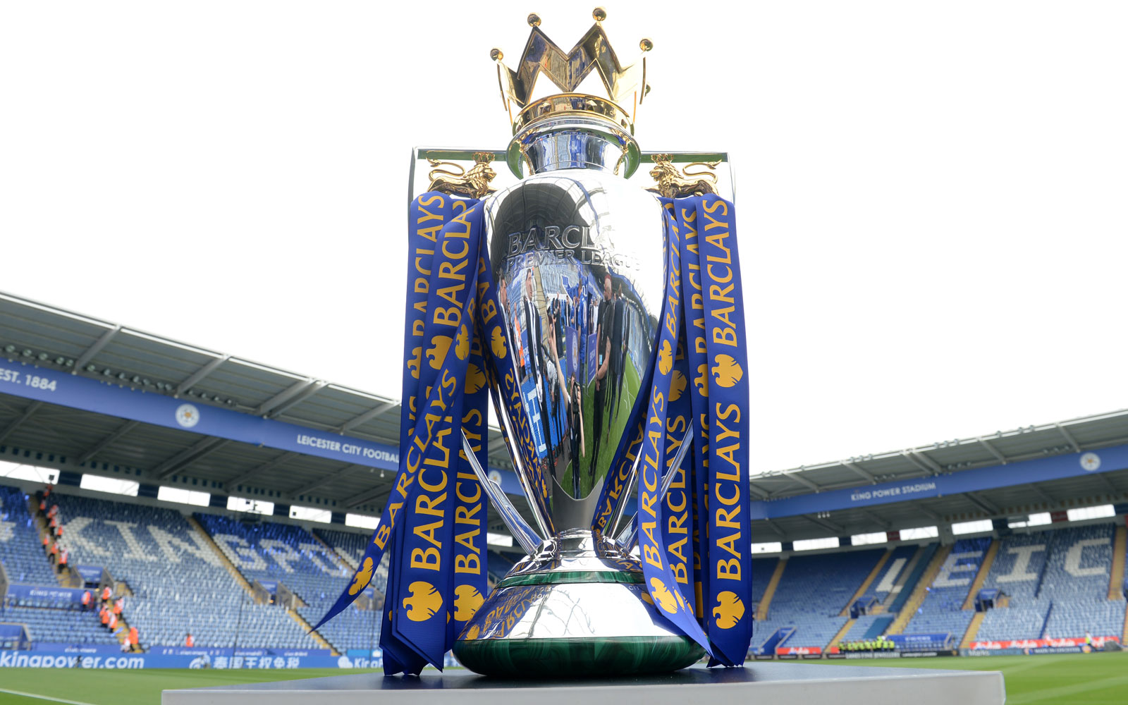 The Premier League trophy arrives at King Power Stadium, where it now belongs.