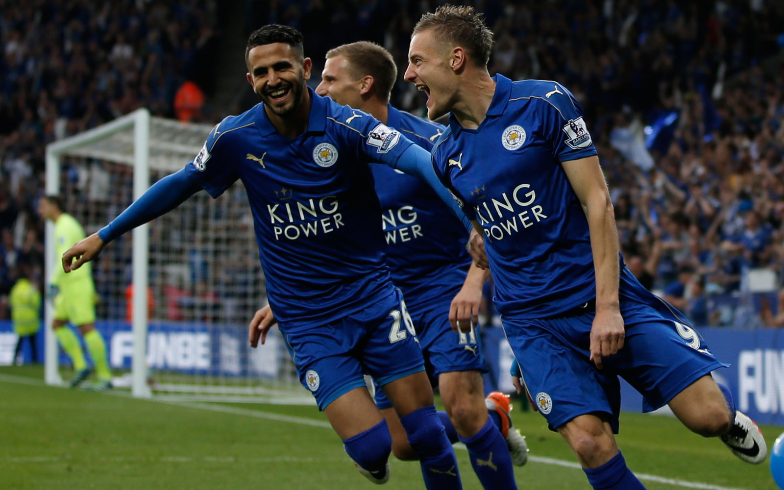 Jamie Vardy wastes no time in marking his return to Leicester's lineup after a two-game ban, scoring five minutes in to keep the celebration going on the field.