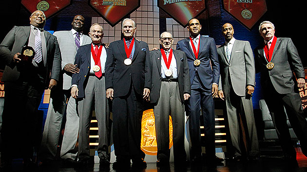 Howard Garfinkel (fourth from right) with his fellow inductees into the National Collegiate Basketball Hall of Fame in 2014