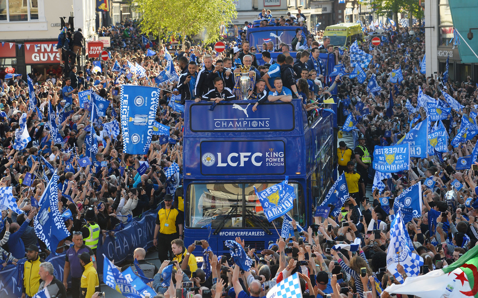 Leicester City enjoys a parade through a packed downtown, gathering with fans for one massive celebration for its title season.