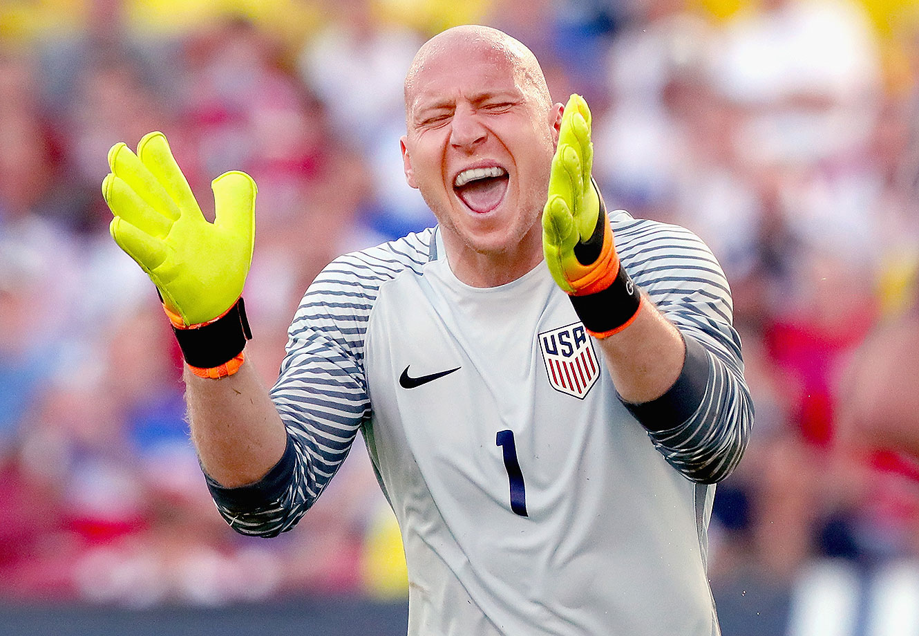 Brad Guzman #1 of the United States reacts after making a save against Ecuador in the first half during an International Friendly match at Toyota Stadium on May 25, 2016 in Frisco, Texas.