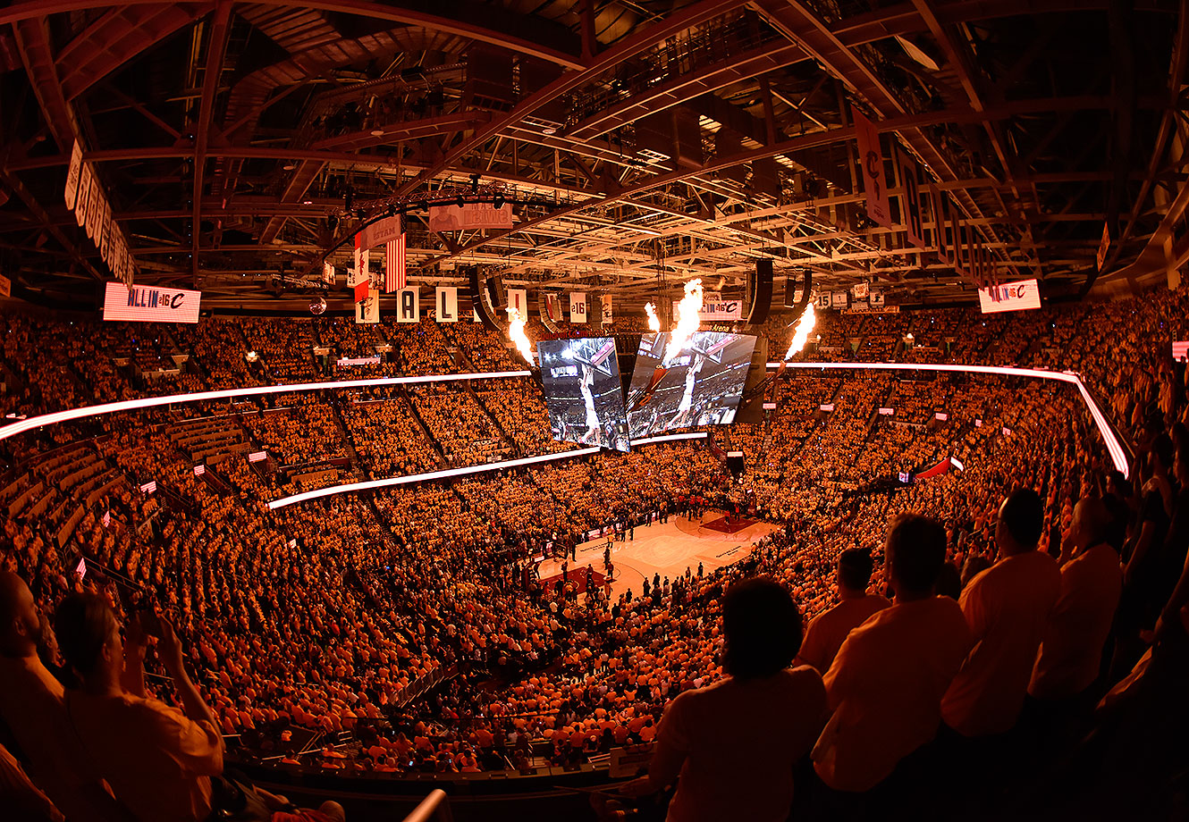 A general view of the game between the Cleveland Cavaliers and the Toronto Raptors in Game Five of the Eastern Confernce Finals of the 2016 NBA Playoffs on May 25, 2016 at The Quicken Loans Arena in Cleveland, Ohio.