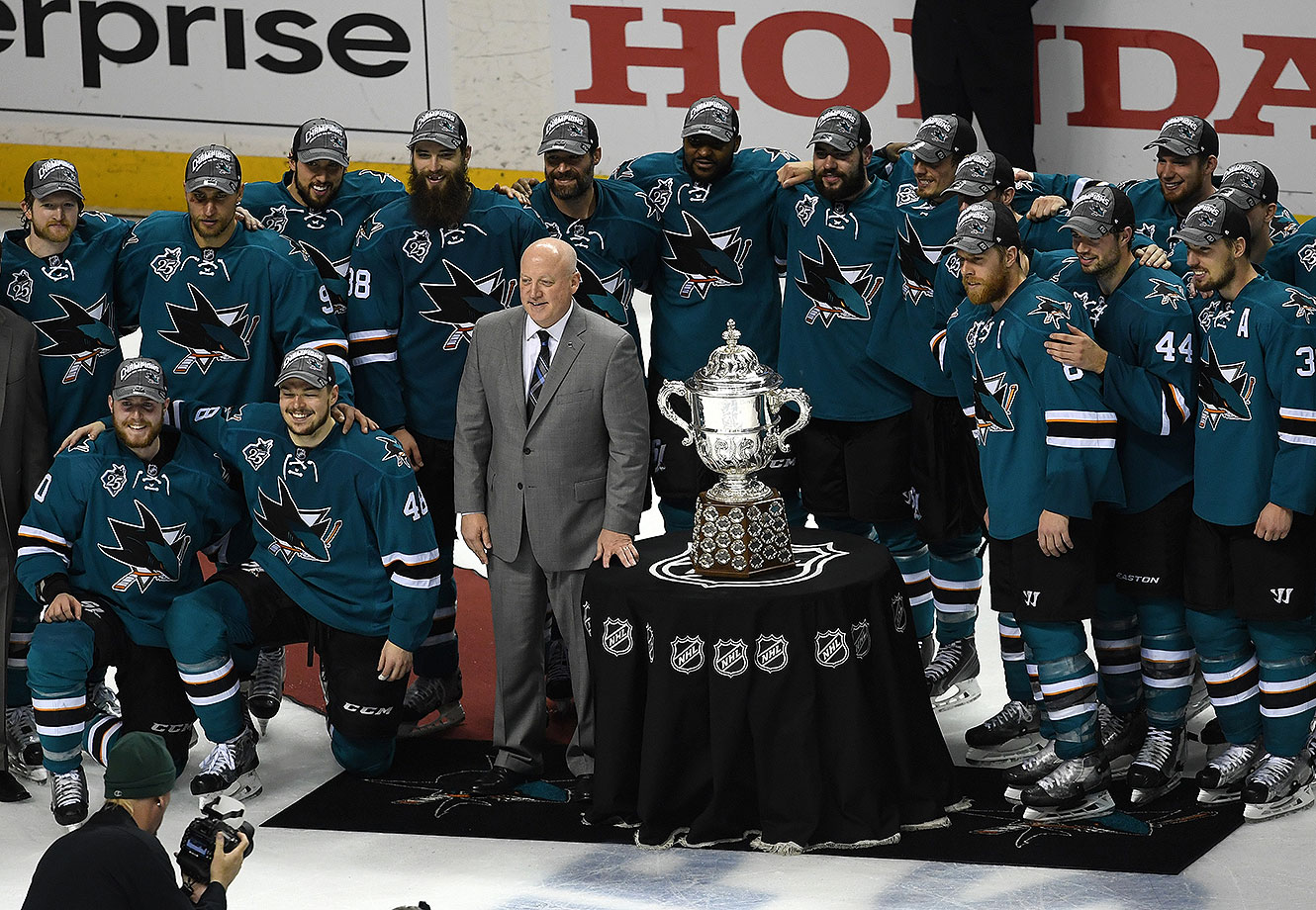 Deputy Commissioner Bill Daly presents the Clarence S. Campbell Bowl to Joe Pavelski #8 and the San Jose Sharks after their 5-2 win over the St. Louis Blues in Game Six of the Western Conference Final during the 2016 NHL Stanley Cup Playoffs at SAP Center on May 25, 2016 in San Jose, California.