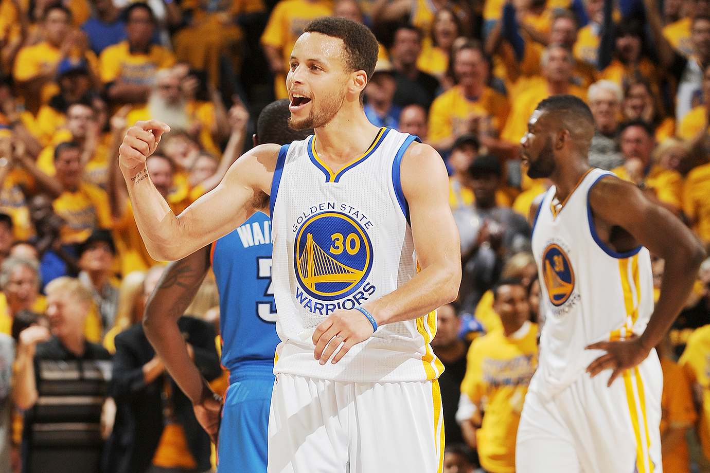 The Golden State Warriors, fresh off their record 73-win season, rallied to topple Kevin Durant and the Oklahoma City Thunder in a 96–88 Game 7 classic. Led by their backcourt duo Stephen Curry and Klay Thompson, the Warriors can win their third-ever NBA title.