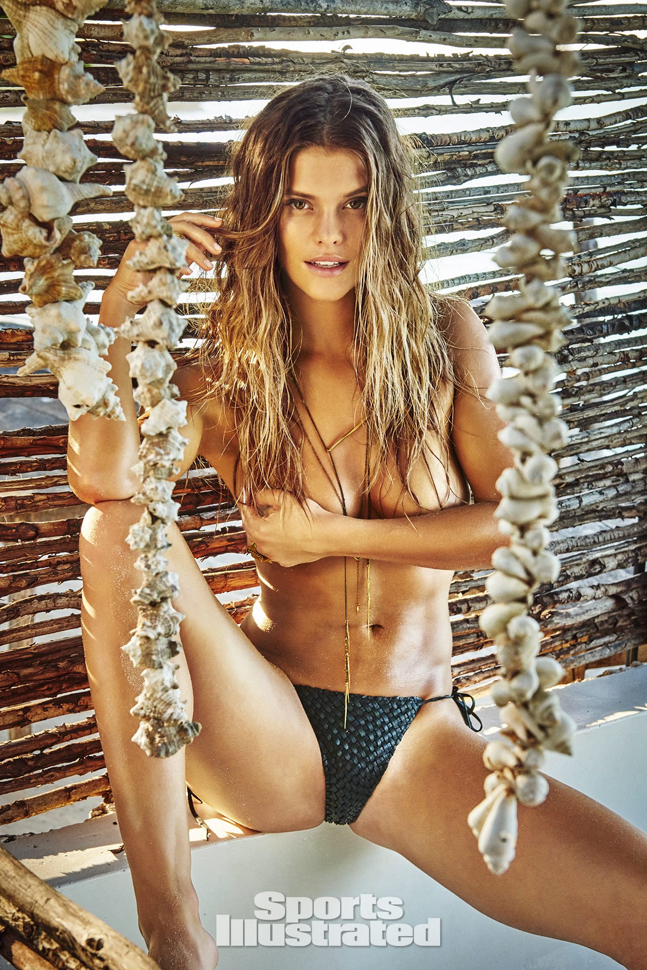 Nina Agdal was photographed by Ruven Afanador in Zanzibar. Swimsuit by Lost Art By Jordan Betten.