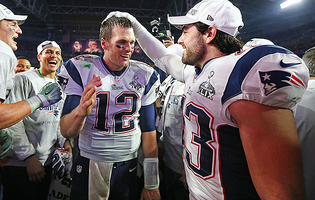 Ebner (right) saw the field for the Patriots in their Super Bowl XLIX win over the Seahawks.