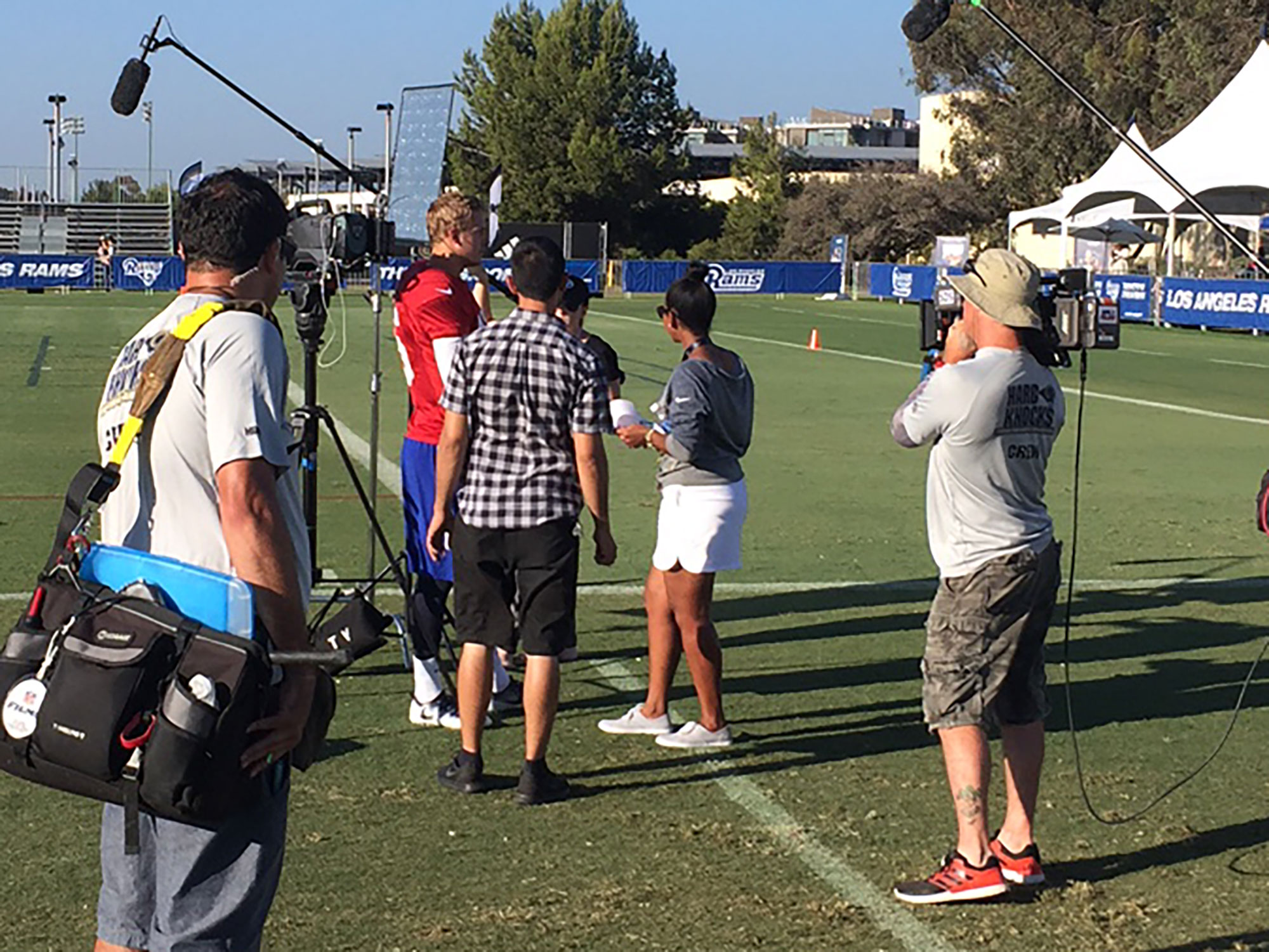 An HBO crew encircles rookie Jared Goff, who has already emerged as a central storyline of this season's 'Hard Knocks'.