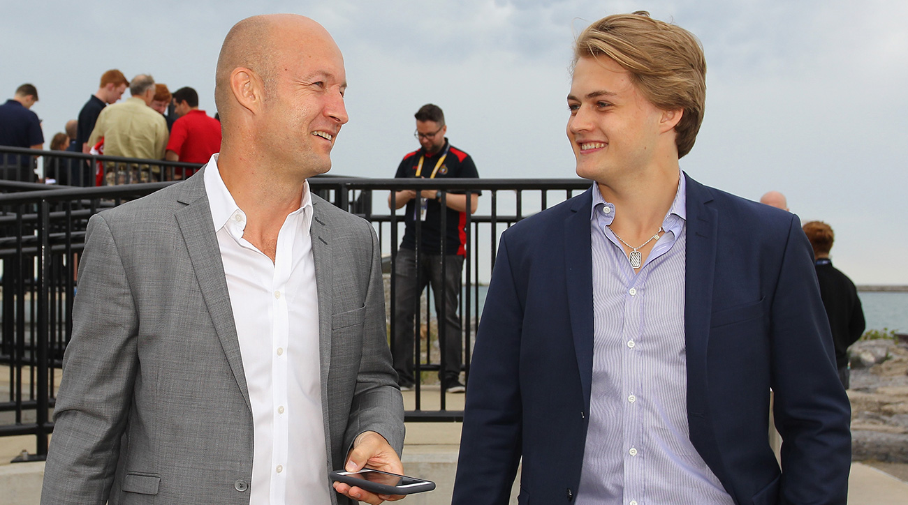 Former NHL player Michael Nylander (L) and William Nylander (R), drafted in 2015 by the Toronto Maple Leafs.