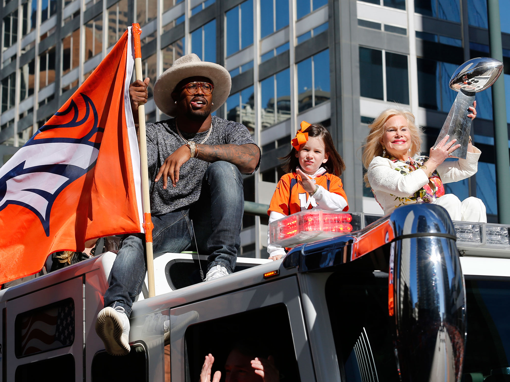 Miller rode through downtown Denver in style after the Broncos won it all.
