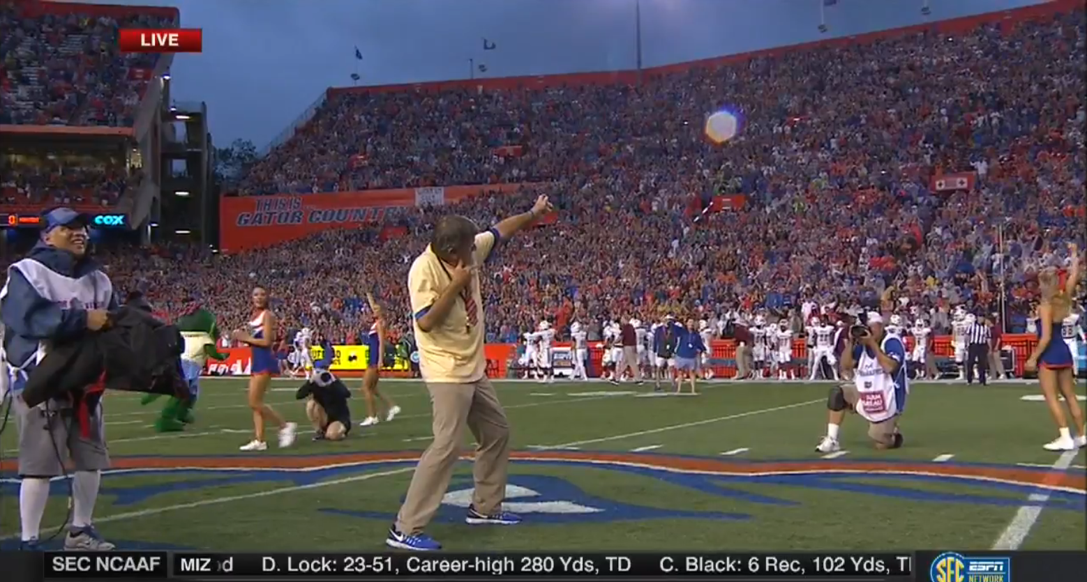 Steve Spurrier did the Usain Bolt point