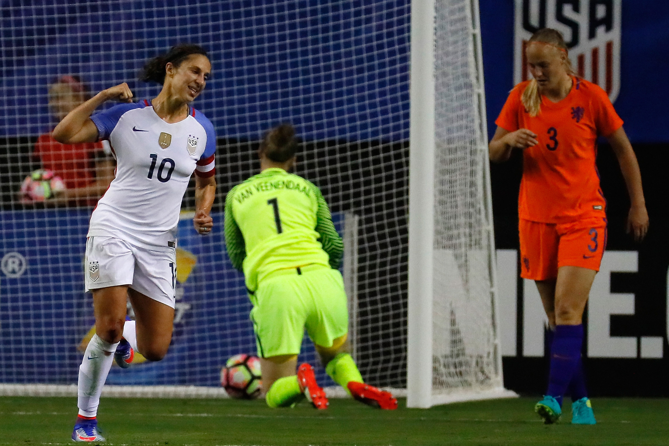 Carli Lloyd celebrates her goal that kicks off the scoring for the USA in a 3-1 win over the Netherlands at the Georgia Dome in Atlanta.