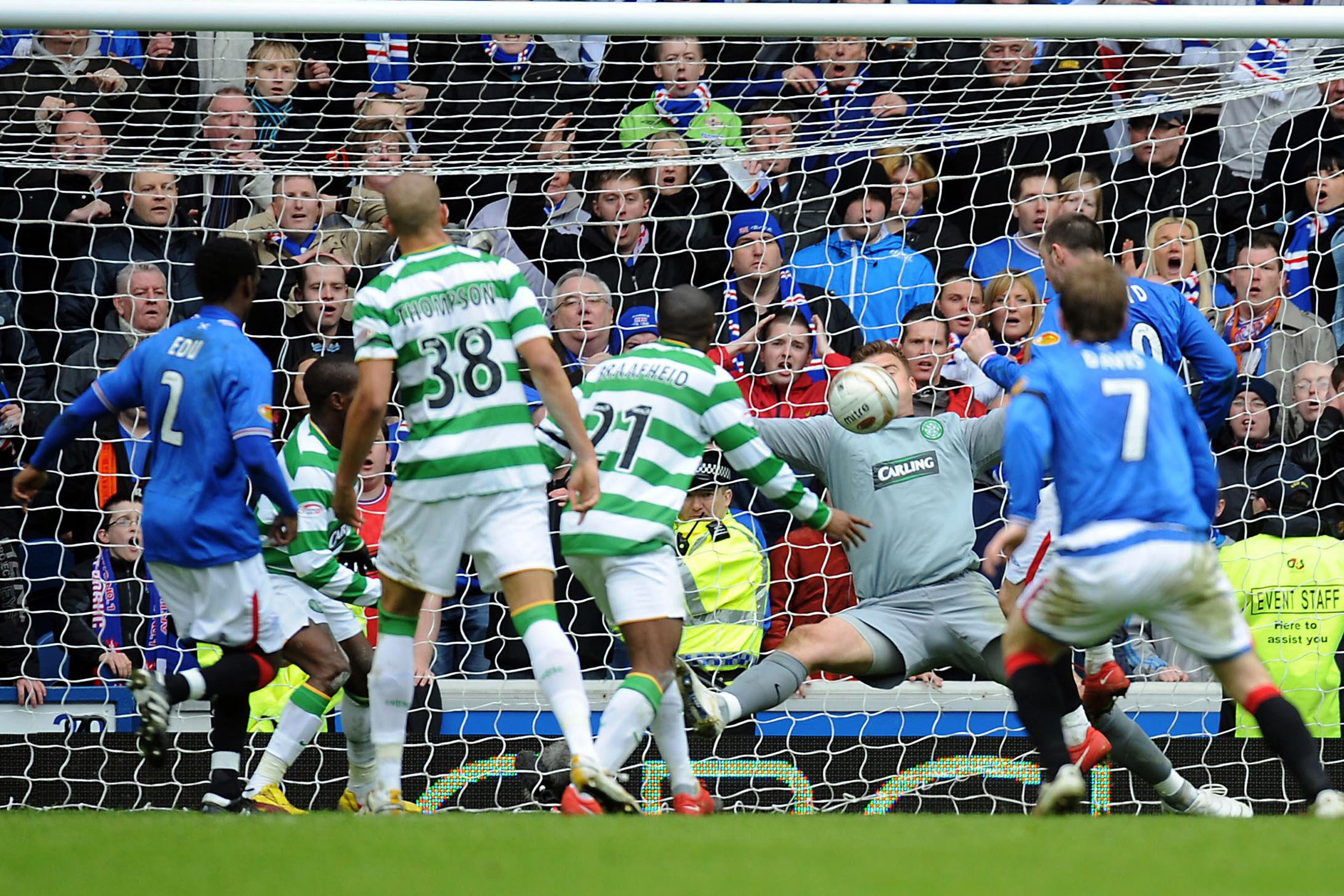 Maurice Edu scores the game-winning goal for Rangers vs. Celtic in a heated Old Firm derby in February 2010.