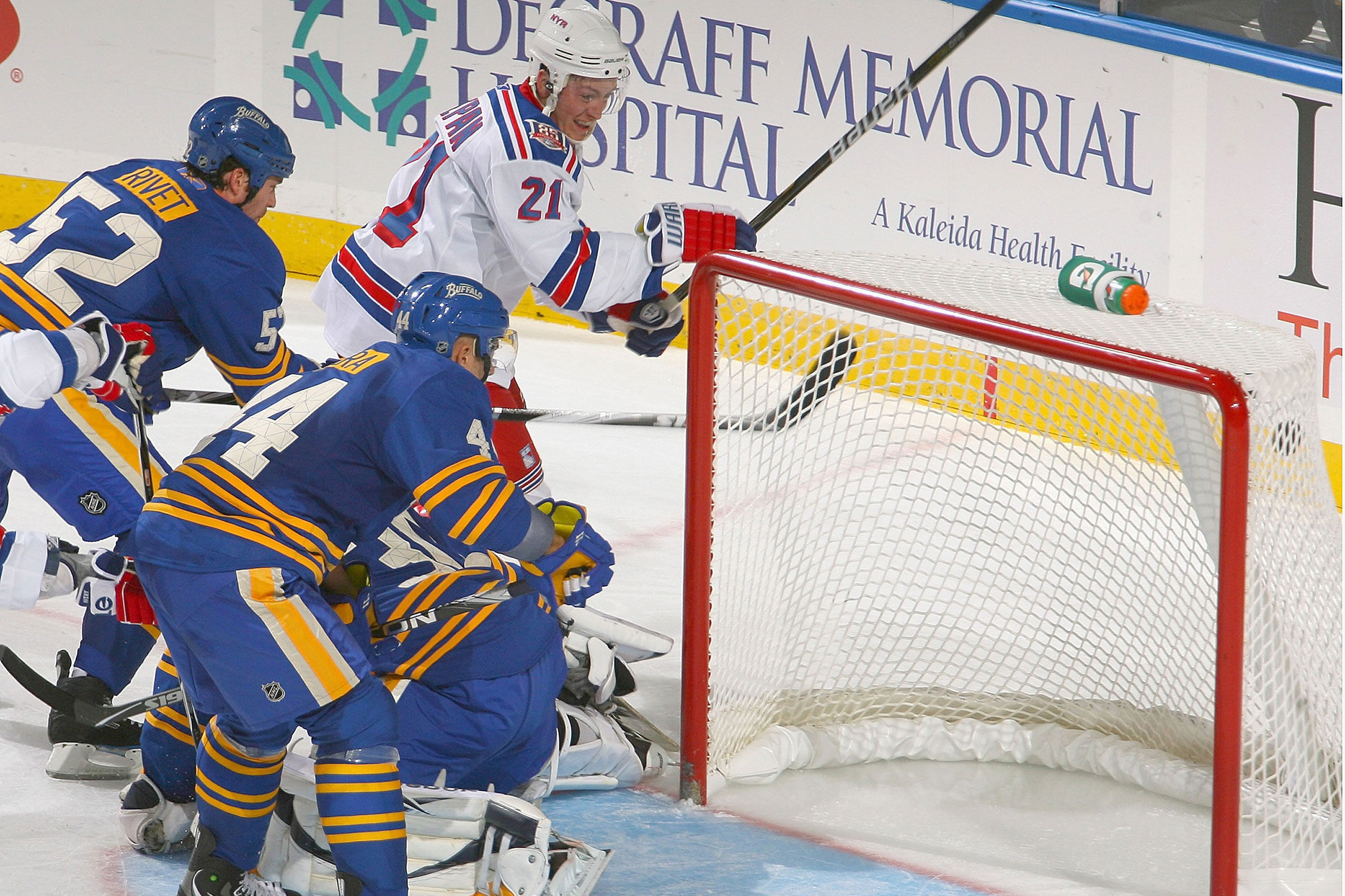 New York Rangers rookie Derek Stepan scored three times against the Sabres in a 6–3 win