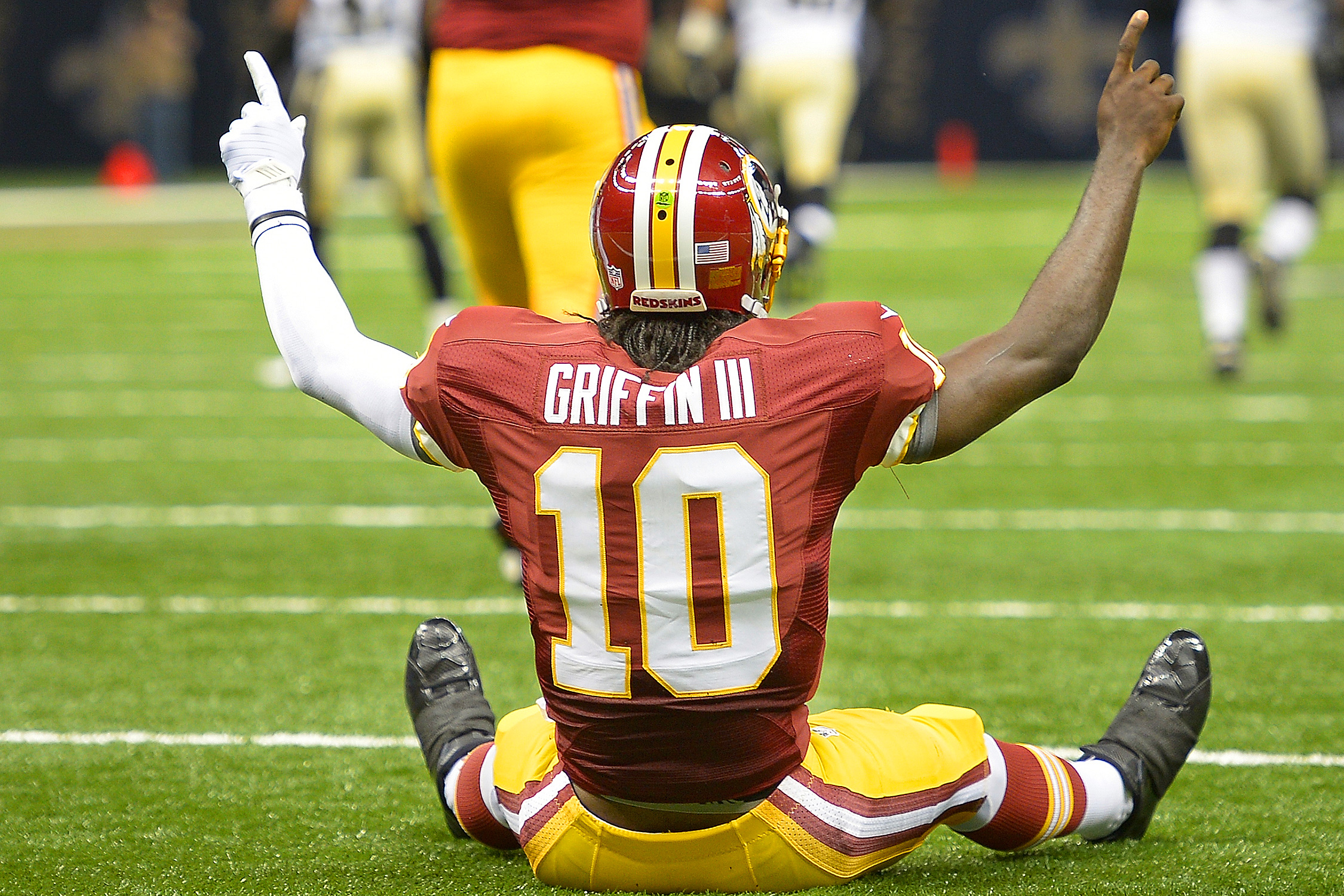Ah, the future once looked so bright. Griffin's debut was a gem: he went 19/26 for 320 yards, for two touchdowns and no interceptions, and rushed for 42 yards on nine carries. Oh, and his first NFL touchdown came on one play on his second drive of the game—an 88-yard throw to Pierre Garcon. The rookie outdid Drew Brees, and led the Redskins to a 40–32 win over the Saints becoming the first QB to throw for more than 300 yards in a winning debut (Cam's 422-yard debut was a loss).