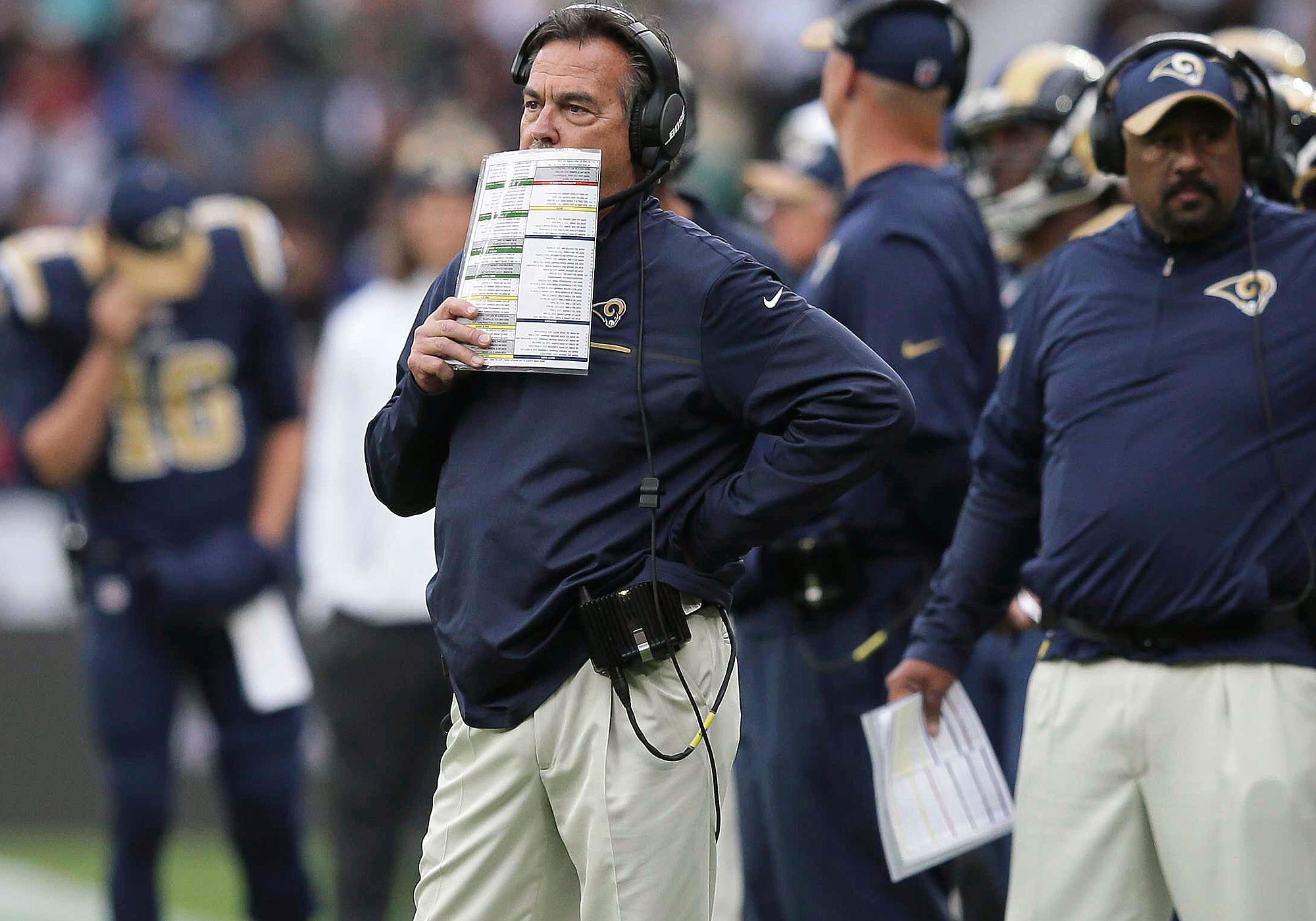 """As soon as Jeff Fisher said it on Hard Knocks, we knew that it would haunt him this season: """"I'm not [expletive] going 7–9, or 8–8 ,or 9–7, O.K.? Or 10–6, for that matter."""" Well, the Rams are 3–4 and on pace for Fisher's 16th season at 8–8 or worse. He hasn't finished above .500 since 2008 and he could extend that streak another year. There was talk at the start of the season that contract extensions for Fisher and GM Les Snead were imminent, which remains baffling three consecutive losses later. L.A. is in the bottom-third of the league in most important offensive categories, and its defense, while above league-average, has a collection of talent that should be even better. Will Fisher get fired? Probably not. He's the Houdini of NFL head coaches. But that doesn't mean his seat shouldn't be on fire after all this mediocrity."""