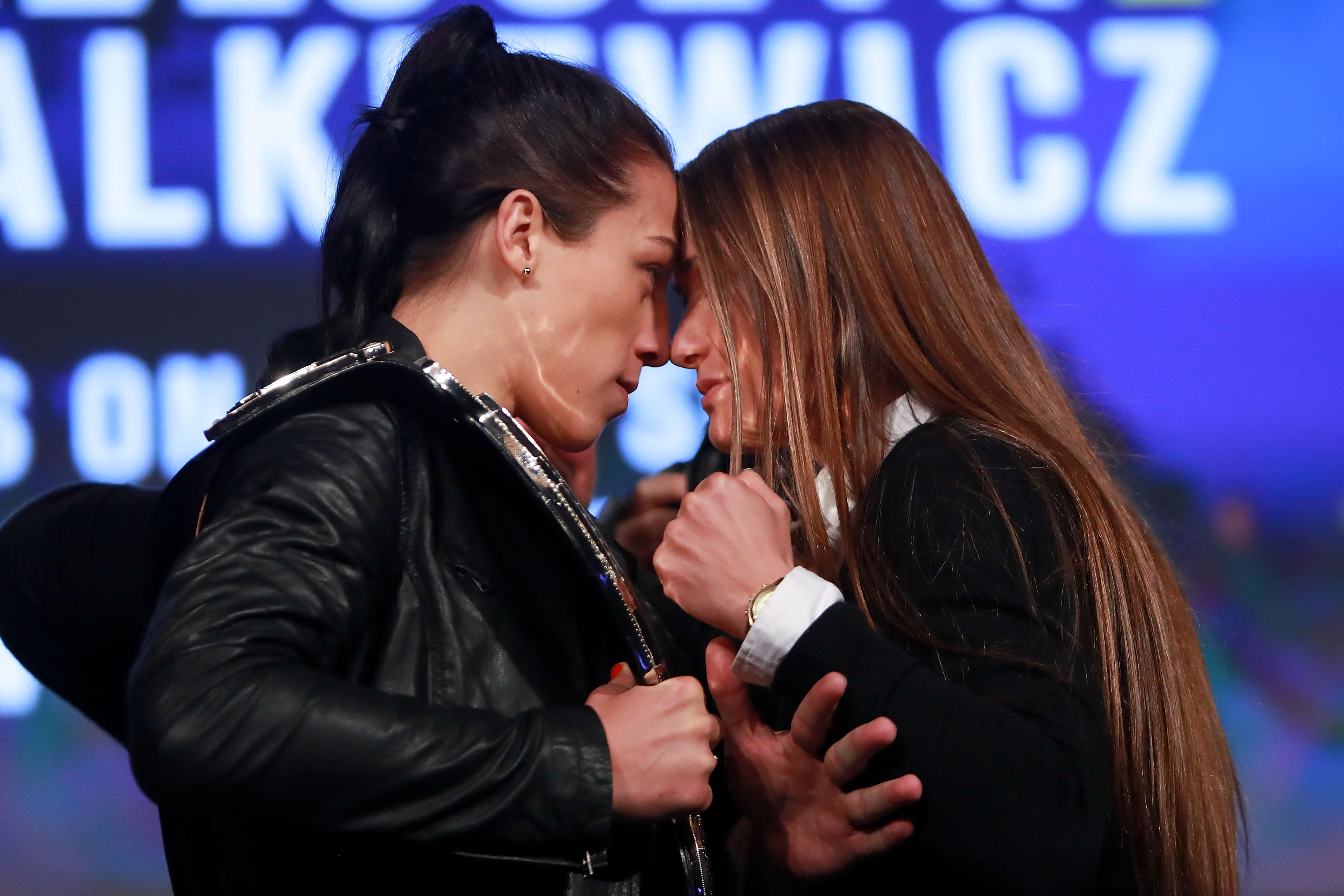 Joanna Jedrzejczyk (left) hopes to defend her UFC strawweight title against challenger Karolina Kowalkiewicz (right)