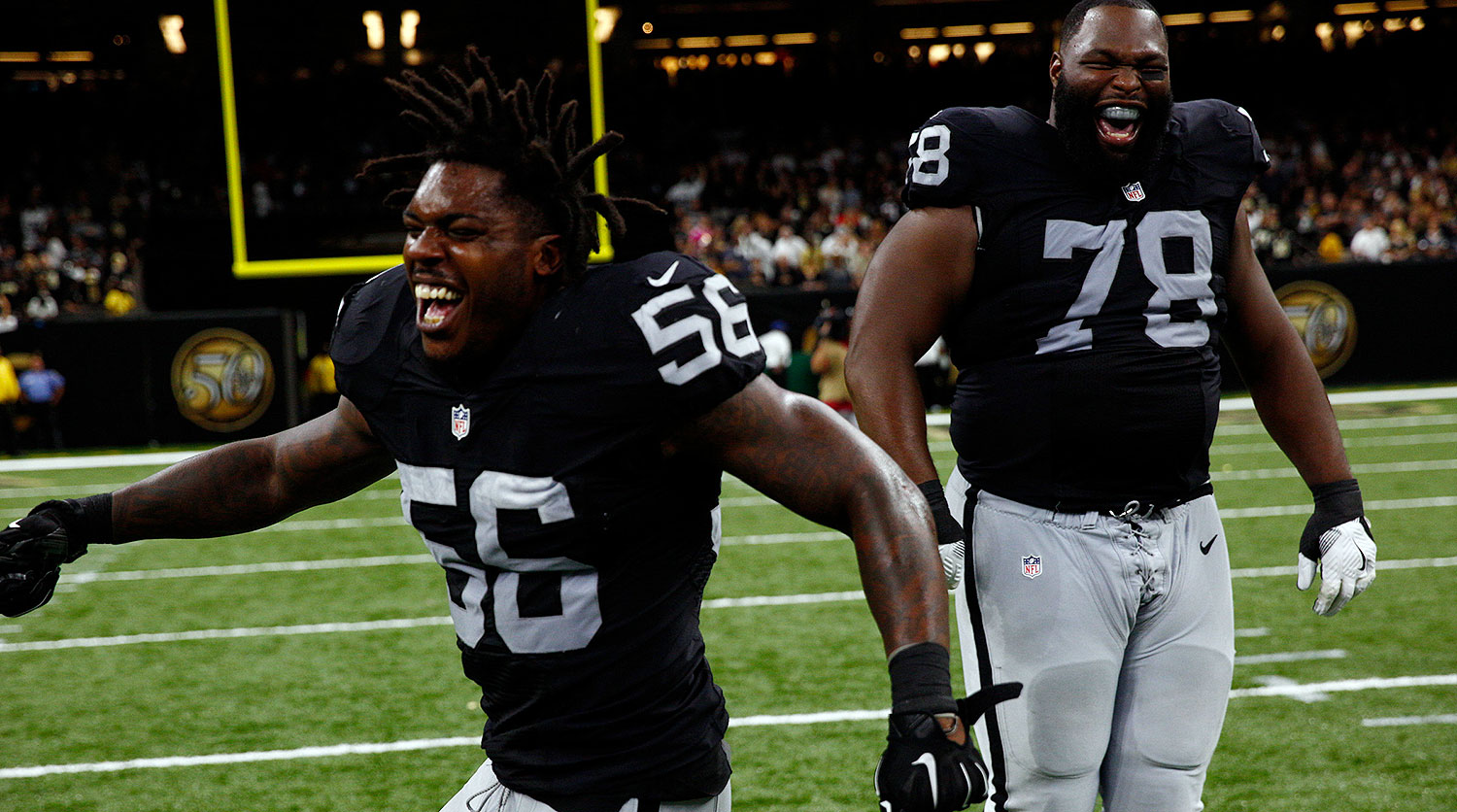 Del Rio's risky two-point conversion call paid off with a season-opening road win in New Orleans that jump-started the Raiders.