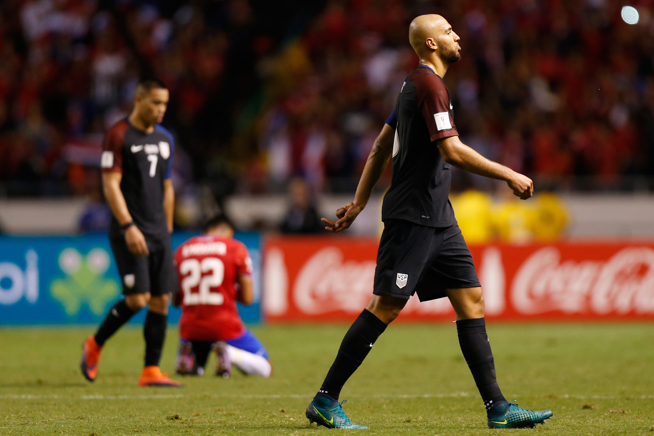 The dejected faces on Bobby Wood, left, and John Brooks say it all, as the U.S. drops to 0-2-0 in the CONCACAF World Cup qualifying Hexagonal following a 4-0 loss and embarrassment at Costa Rica.