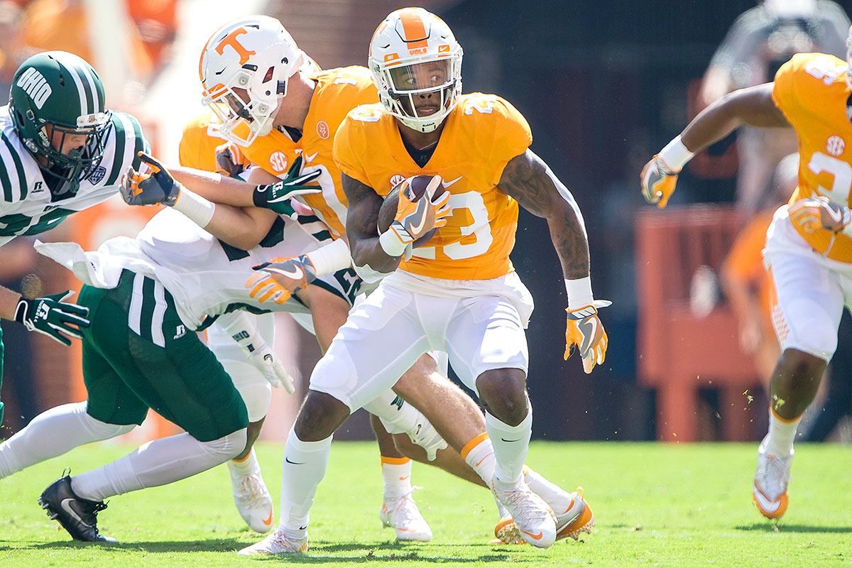 """Despite being undersized for a defensive back (5' 11"""", 185 pounds), Sutton is an athletic, tough player who isn't afraid to battle receivers much larger than him, like Virginia Tech's Isaiah Ford. Sutton was also a top-notch punt returner for the Volunteers before an ankle injury forced him to miss six games this season. There's no doubt that Sutton had higher expectations for 2016—much like Tennessee as a whole—but a strong performance against Nebraska in the Music City Bowl could be a springboard into the evaluation season."""