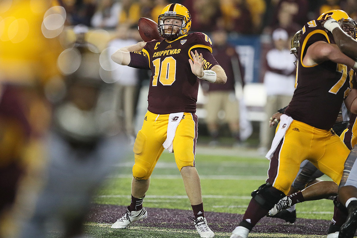 """His last pass in an upset win over Oklahoma State—a Hail Mary heave brought down and lateraled for a stunning game-winning touchdown—was the one college football fans will remember for years, but Rush's final stat line from that game (31 of 43, 368 yards, four touchdowns, one interception) proved he could hold his own against a Power Five defense. He can create outside the pocket better than his 6' 3"""", 230 pound frame might suggest. His NFL prospects come down to consistency."""